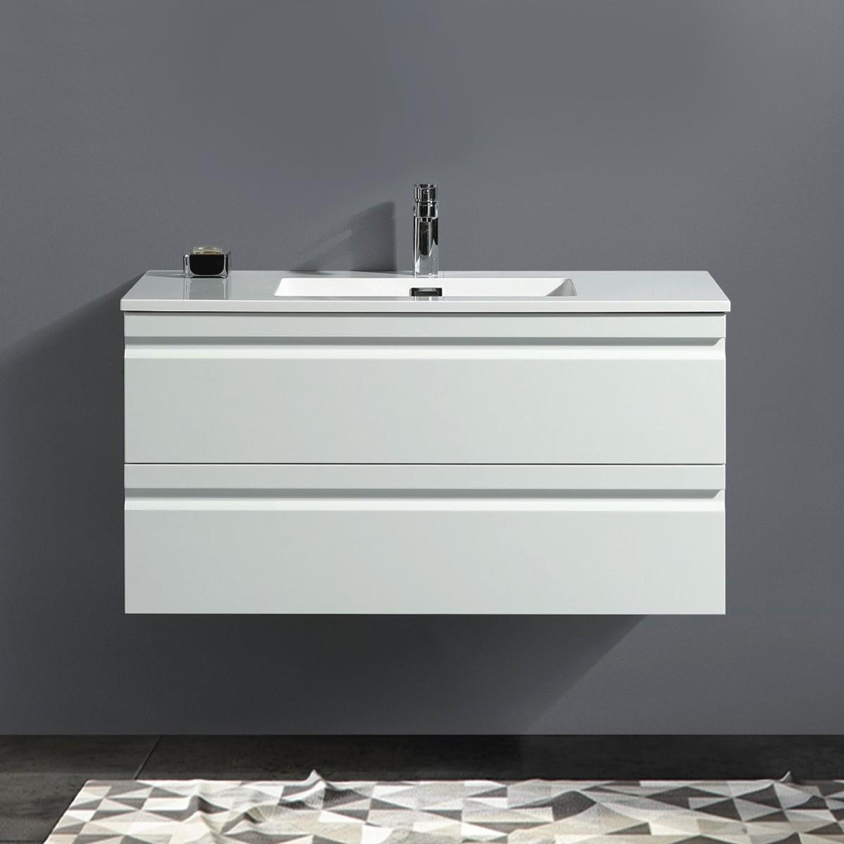 40 po Vanité suspendu au mur avec lavabo (ZRW1002WH-V)