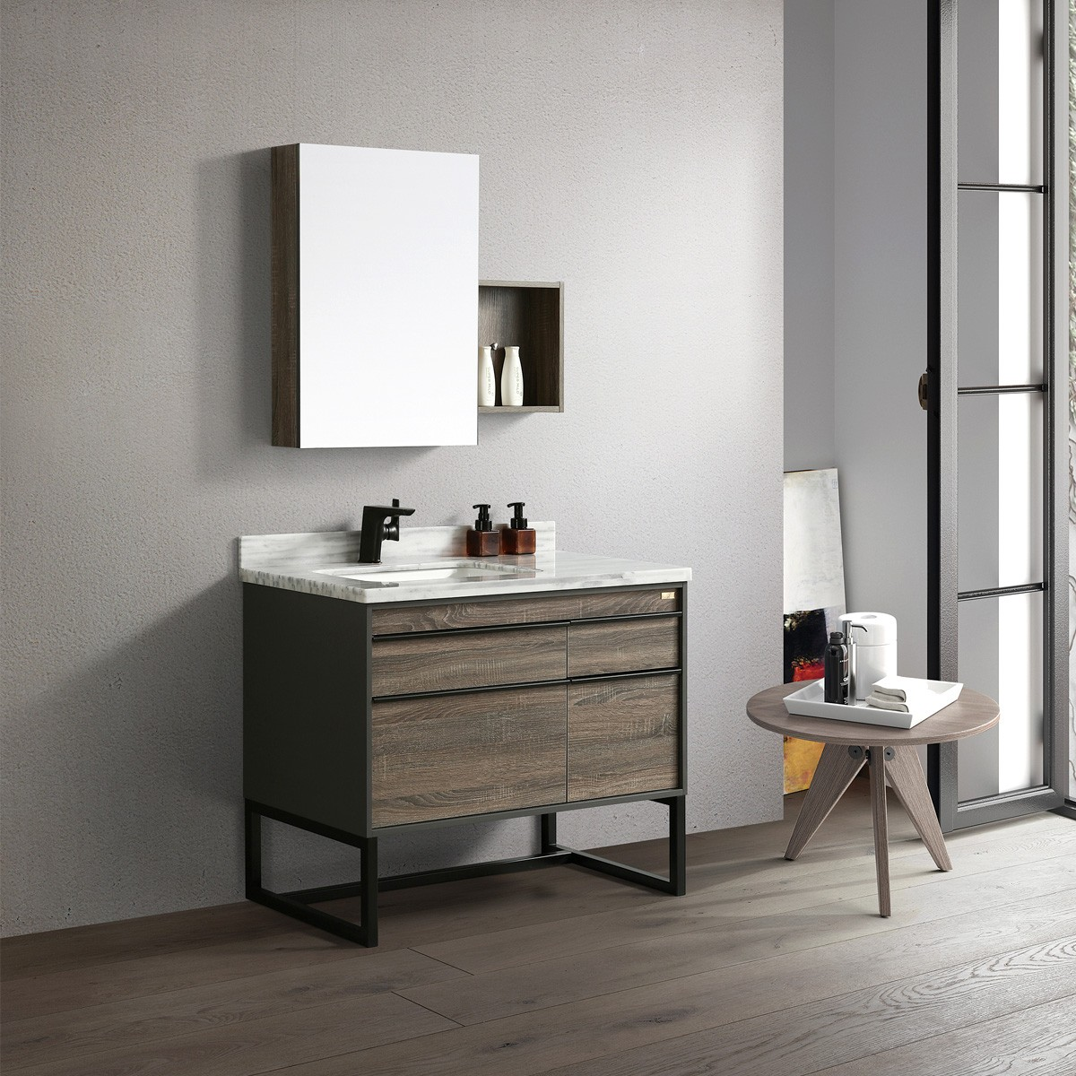Ensemble de vanité autoportante 40 po avec miroir et lavabo (G8295-SET)