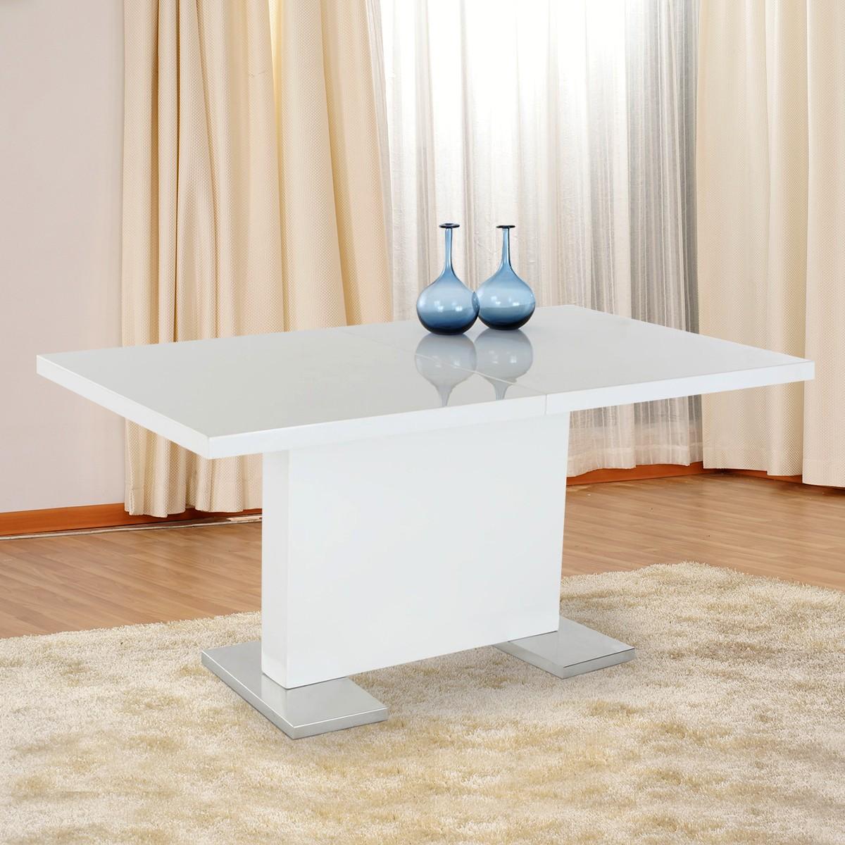 Table à manger extensible en blanc (HG14110-E)
