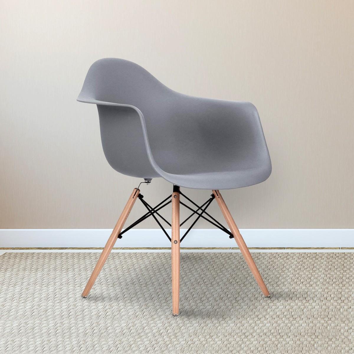 Chaise en plastique moulé blanche avec pieds en gris (T813E008-GY)