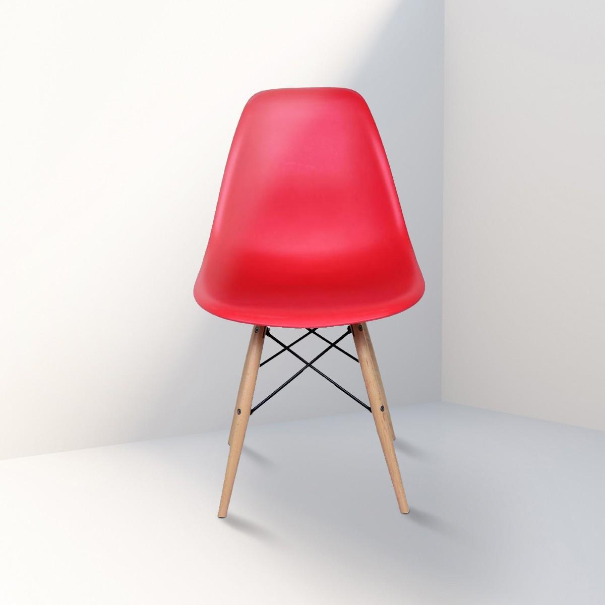 Chaise en plastique moulé rouge avec pieds en bois (T811E006-RD)