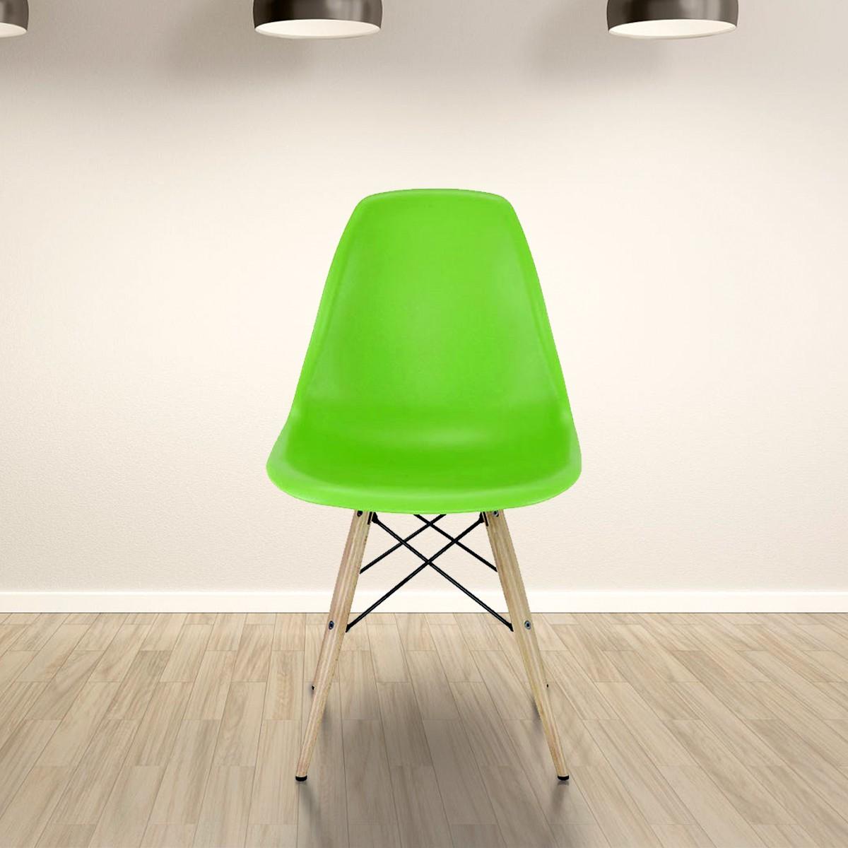 Chaise en plastique moulé verte avec pieds en bois (T811E006-GN)