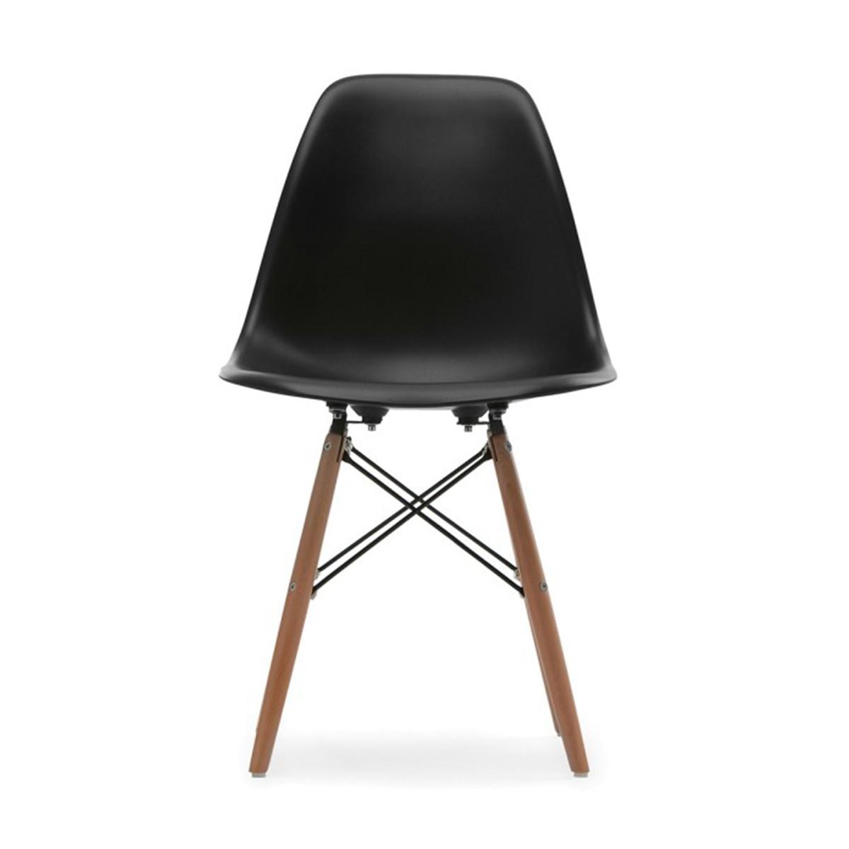 Chaise en plastique moulé noire avec pieds en bois (T811E006-BK)
