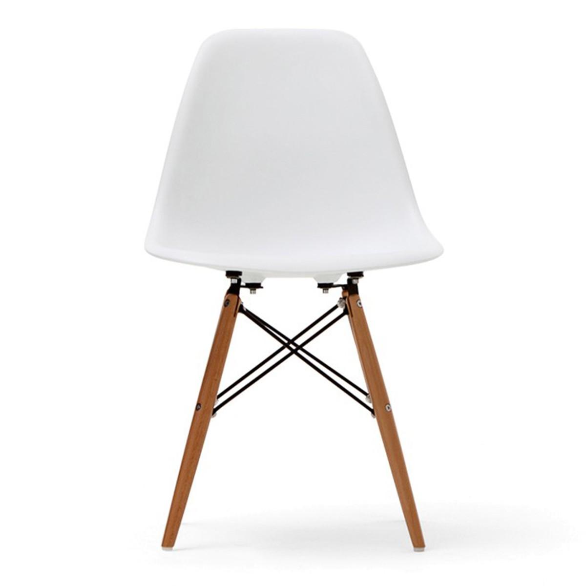 Chaise en plastique moulé blanche avec pieds en bois (T811E006-WT)