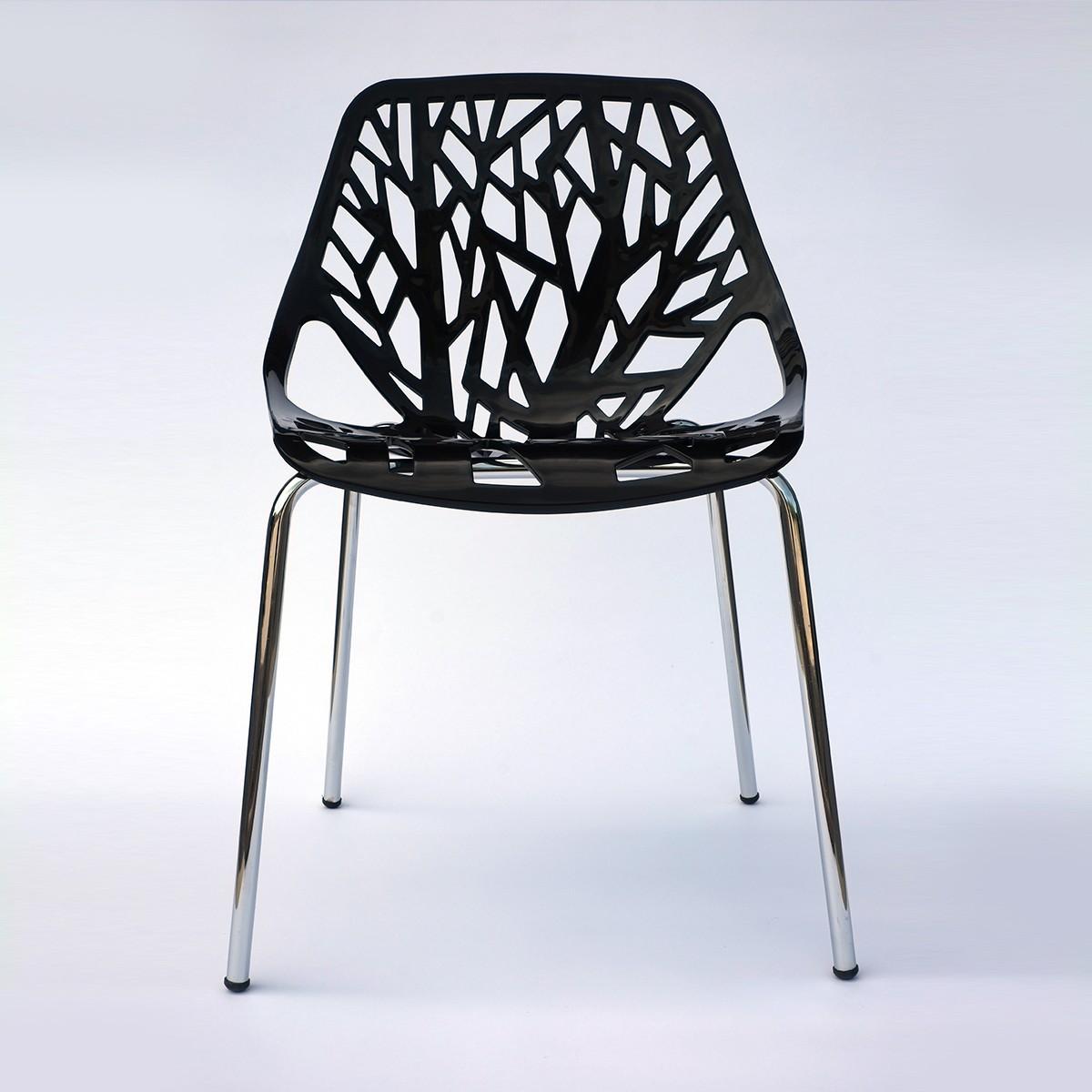 Chaise de salle à manger avec pochoir en blanc (T812E002-BK)