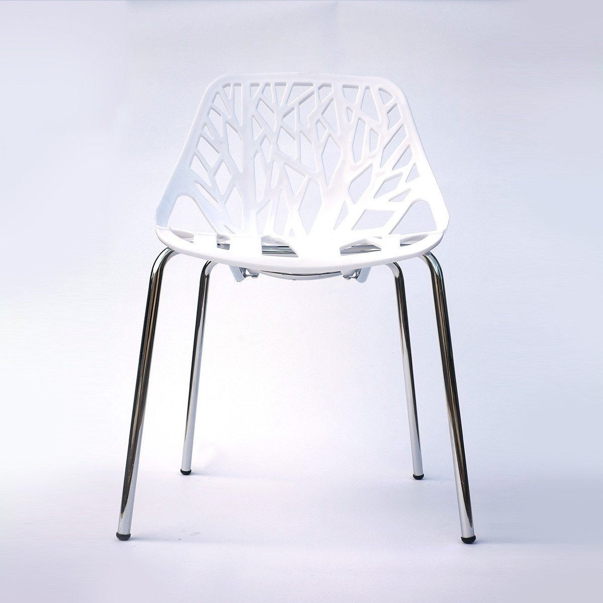 Chaise de salle à manger avec pochoir en blanc (T812E002-WT)