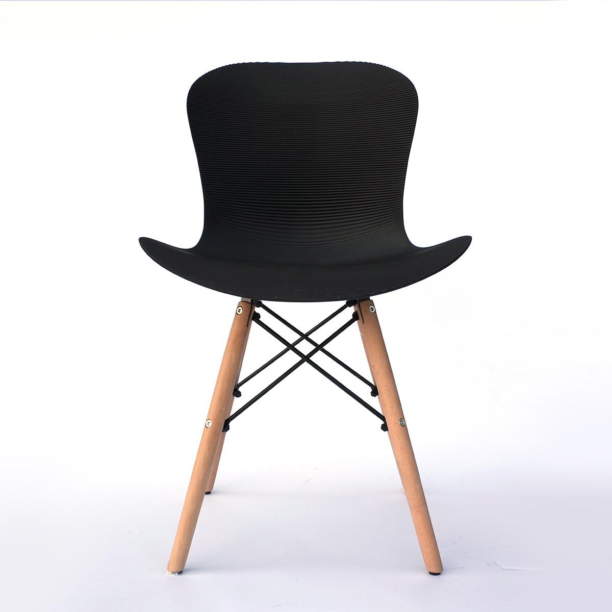 Chaise de salle à manger en plastique ondulé en noir (T806E001-BK)