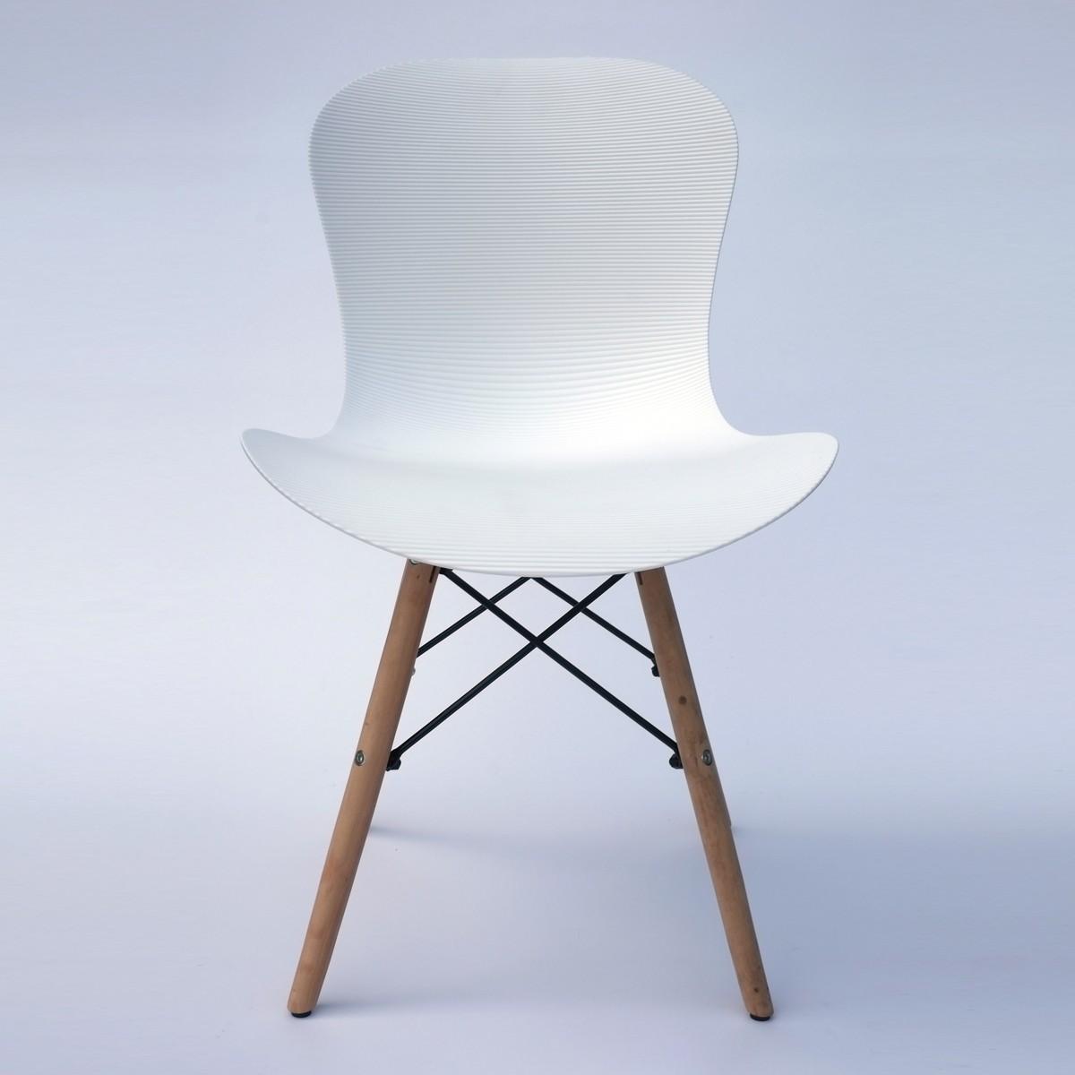 Chaise de salle à manger en plastique ondulé en blanc (T806E001-WT)