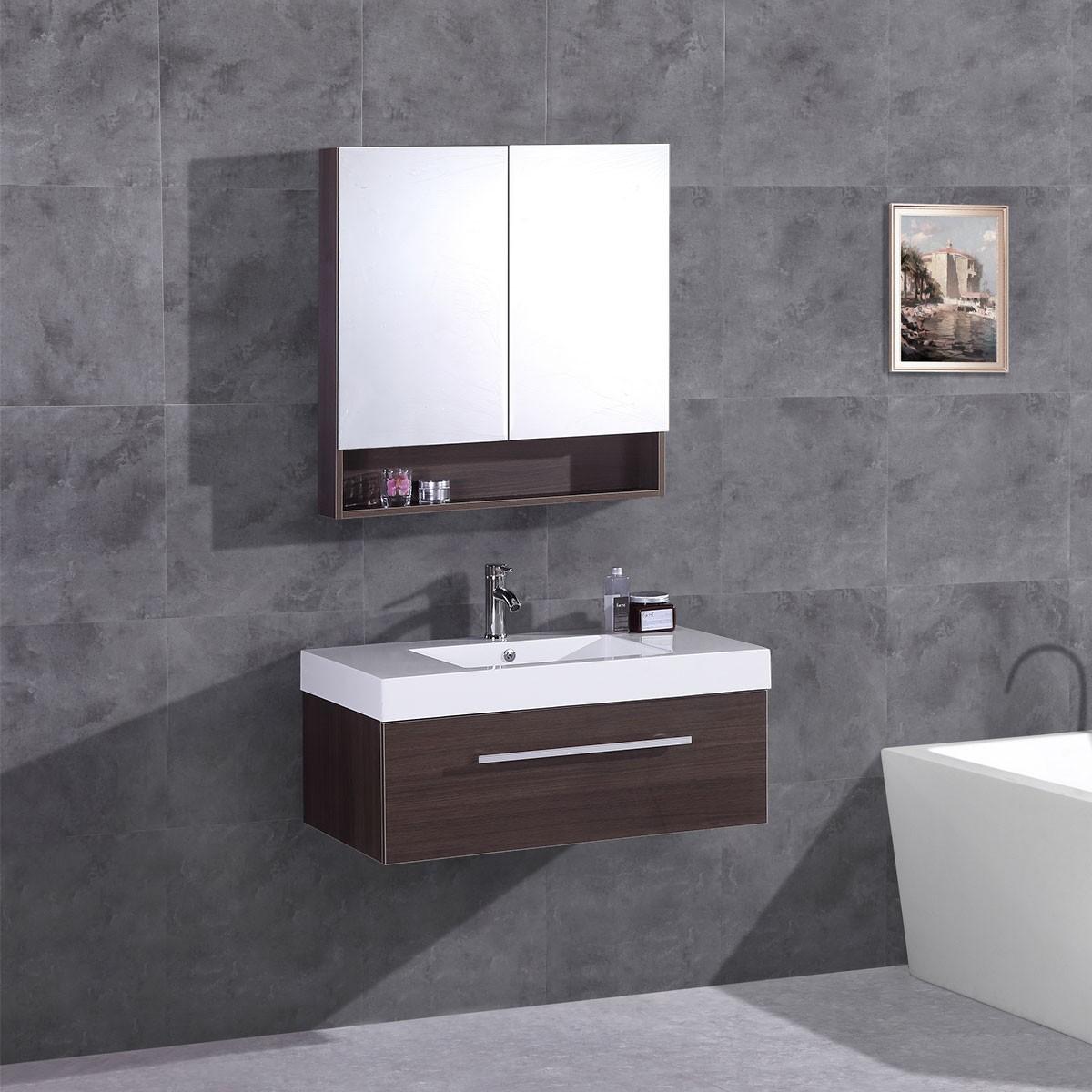 """Ensemble 3 pièces avec vanité 35"""", lavabo et miroir de pharmacie assorti (DK-T5007-SET)"""