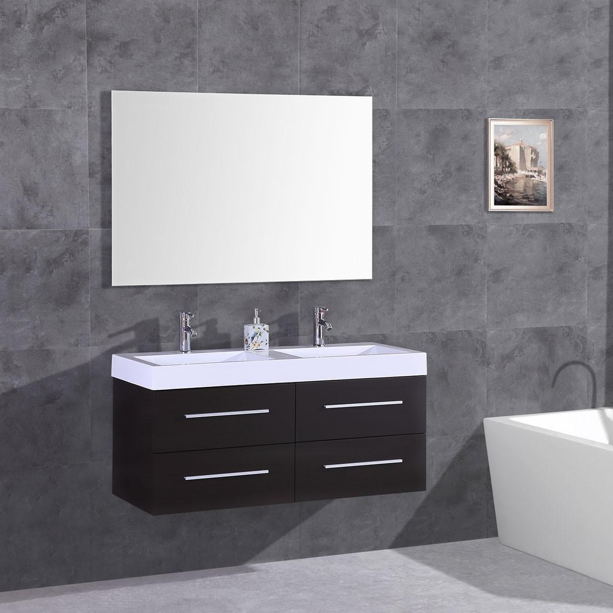 """Ensemble 3 pièces avec vanité 48"""", lavabo et miroir assorti (DK-T9018B-SET)"""