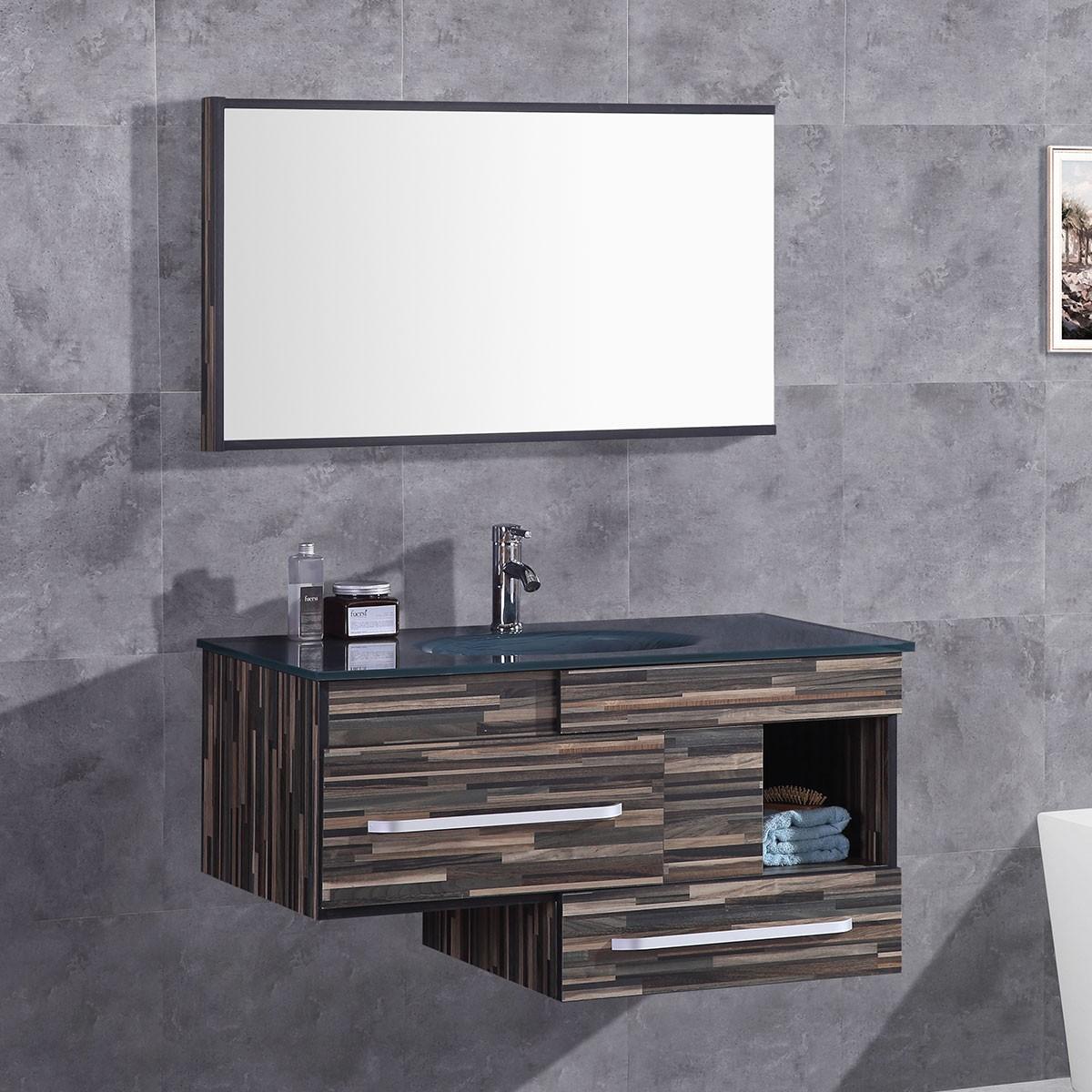 """Ensemble 3 pièces avec vanité 40"""", lavabo et miroir assorti (DK-T9032-SET)"""