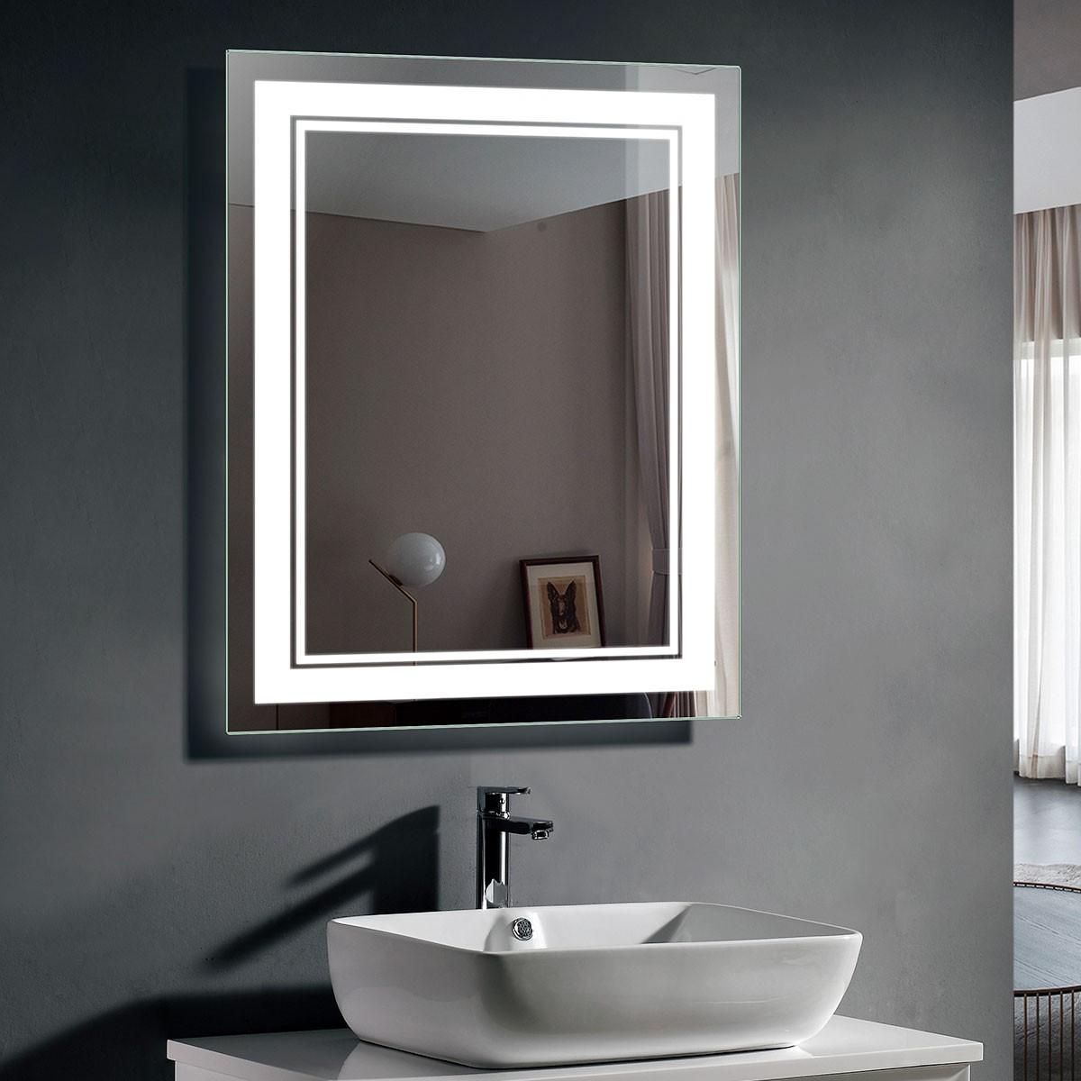 28 x 36 po miroir de salle de bain LED avec capteur infrarouge (DK-OD-CK160-IG)