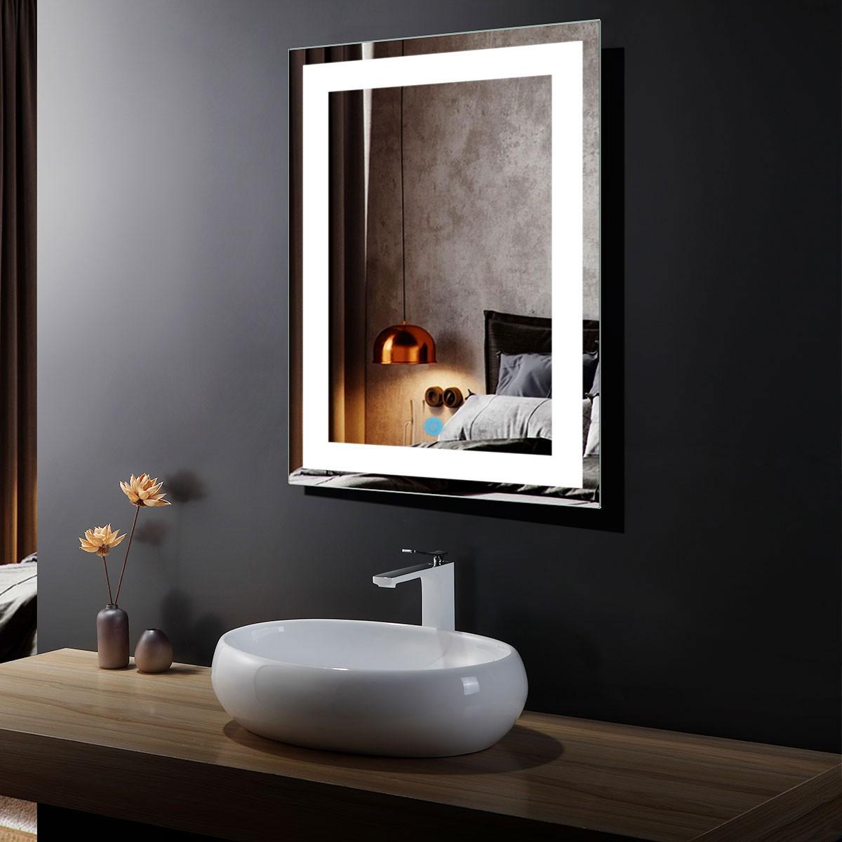24 x 32 po Miroir Vertical LED Salle de Bains avec Interrupteur Tactile (DK-OD-CK010)