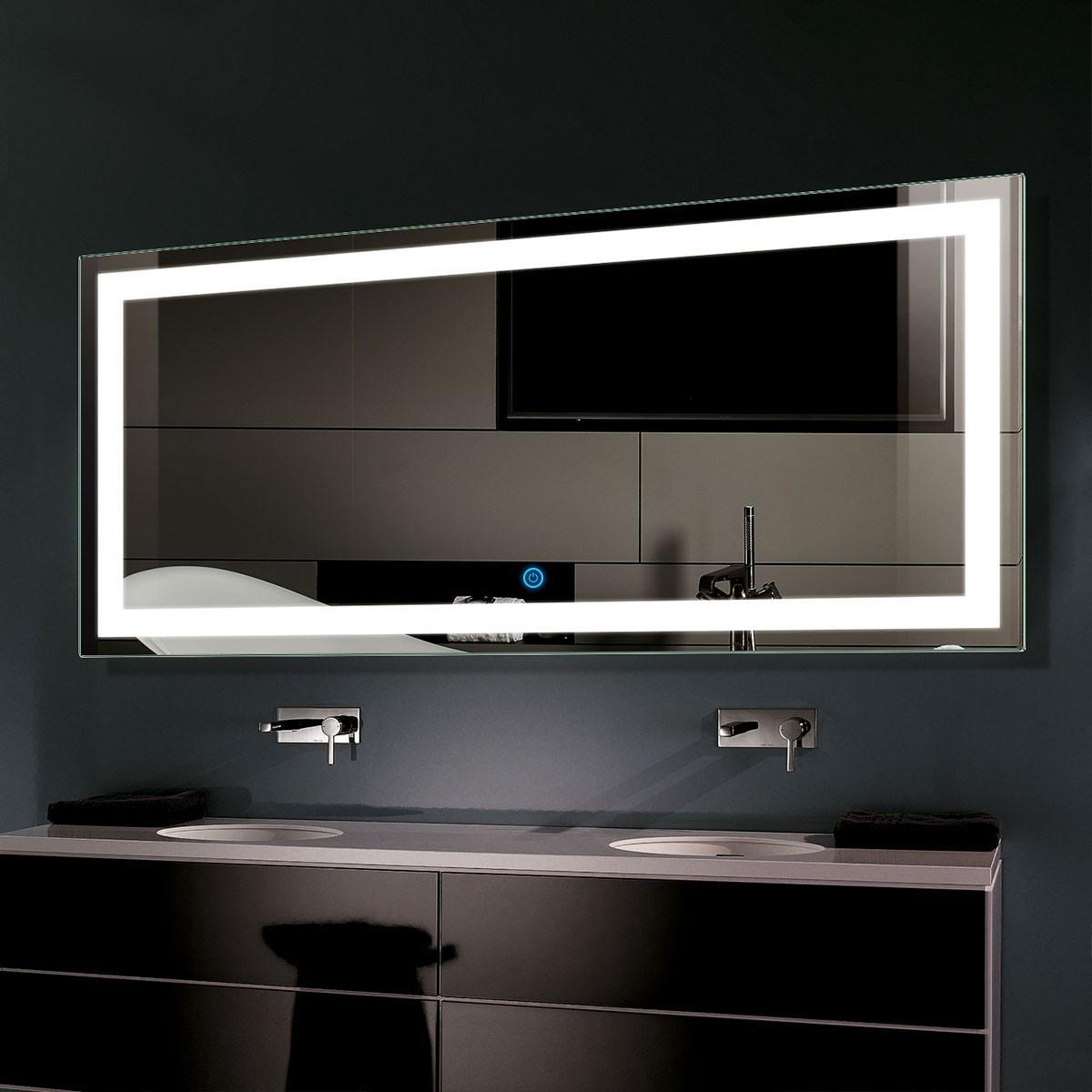 60 x 28 po miroir de salle de bain LED horizontal avec bouton tactile (DK-OD-CK010-C)