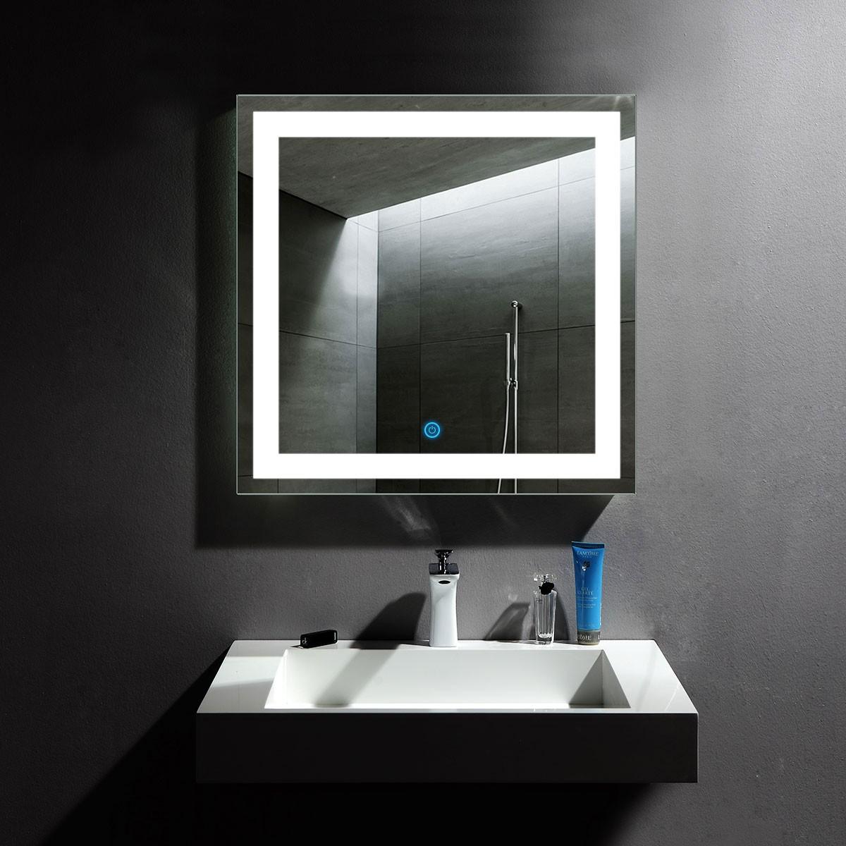 32 x 32 po miroir de salle de bain LED vertical avec bouton tactile (DK-OD-CK010-F)