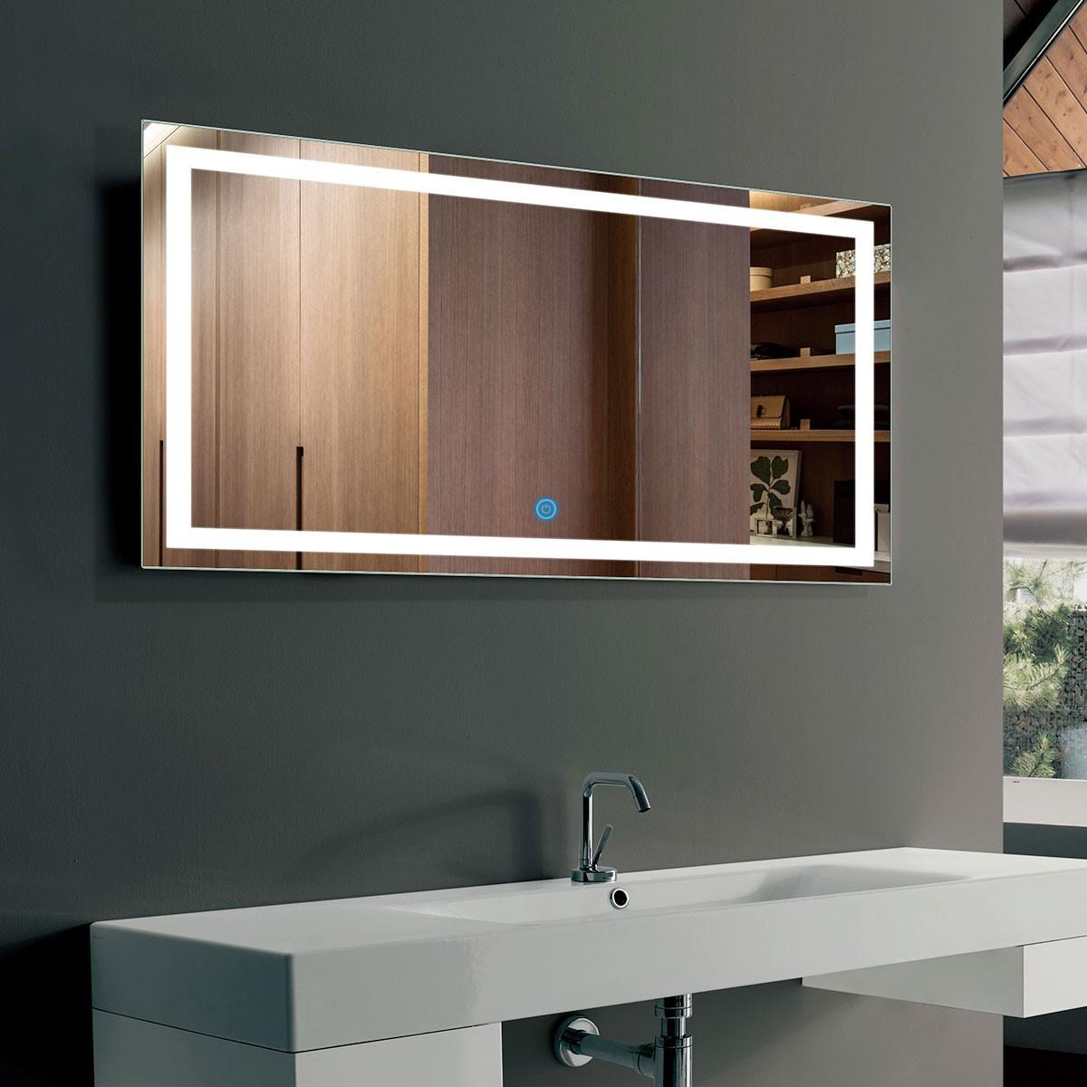 40 x 24 po miroir de salle de bain LED horizontal avec bouton tactile (DK-OD-CK010-G)