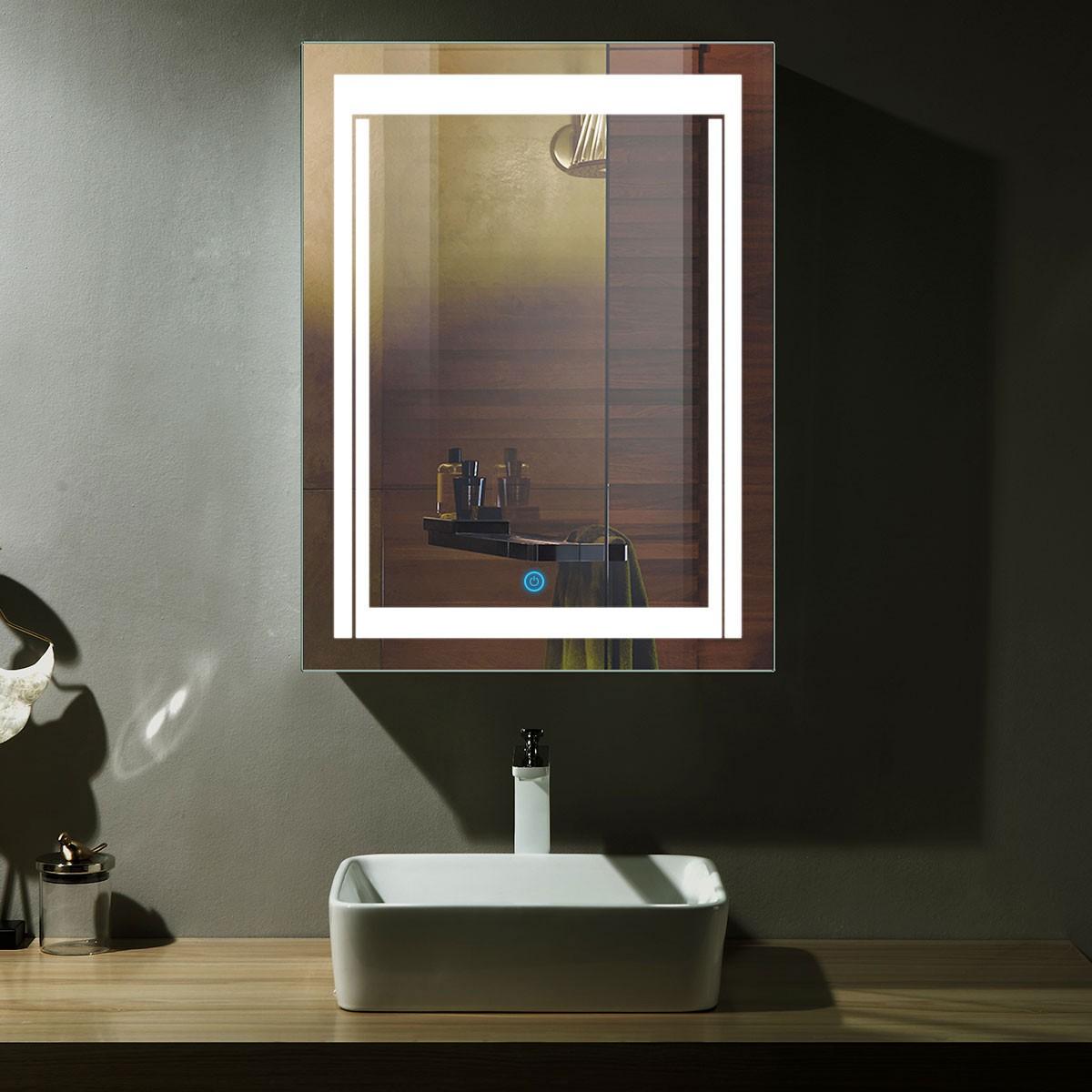 24 x 32 po miroir de salle de bain LED vertical avec bouton tactile (DK-OD-CK150)