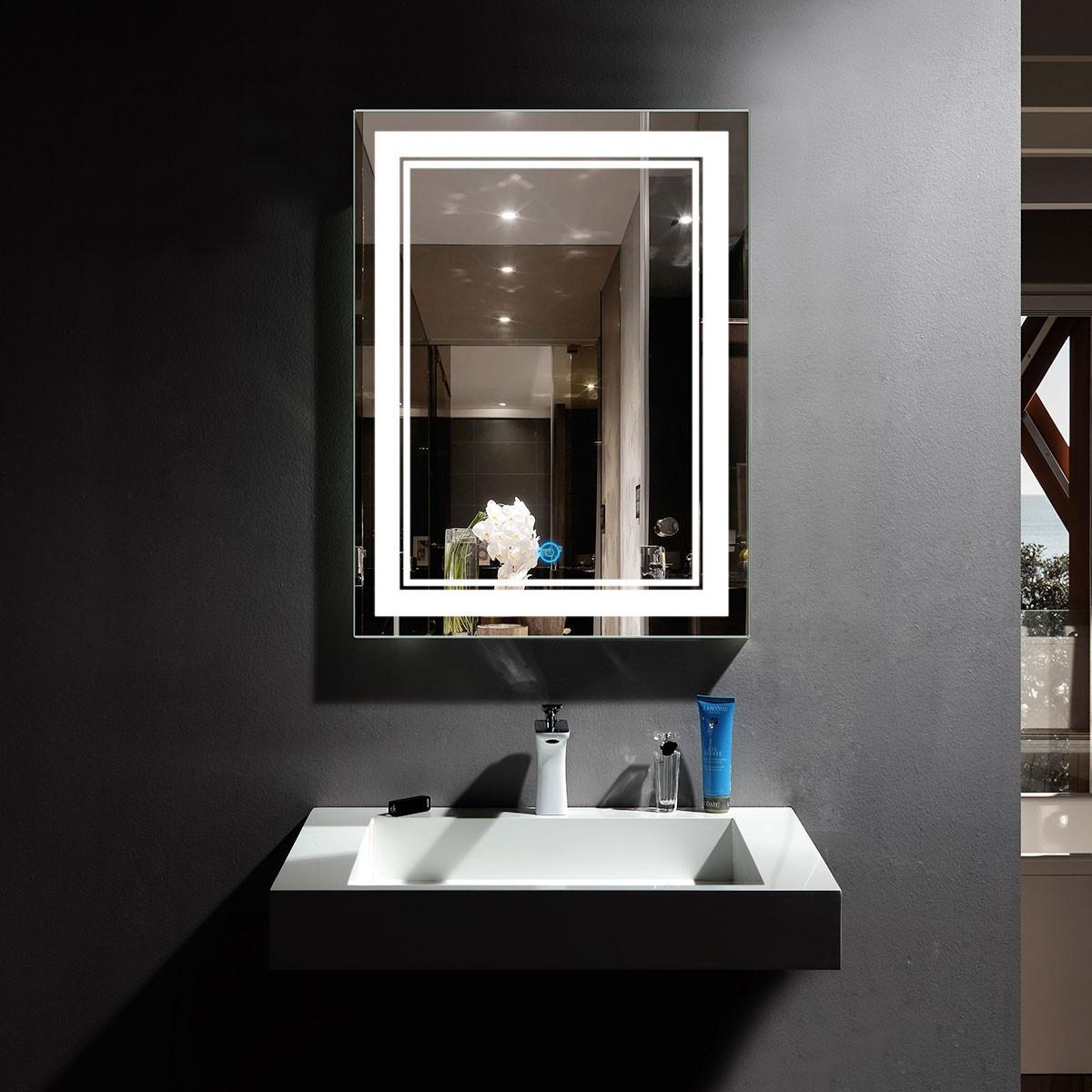 DECORAPORT 24 x 32 Po Miroir de Salle de Bain LED/Miroir Chambre avec Bouton Tactile, Luminosité Réglable, Montage Vertical & Horizontal (CK160-2432)