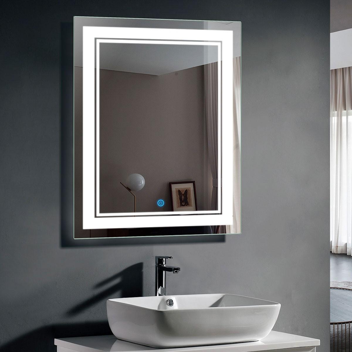 DECORAPORT 28 x 36 Po Miroir de Salle de Bain LED/Miroir Chambre avec Bouton Tactile, Luminosité Réglable, Montage Vertical & Horizontal (CK160-2836)