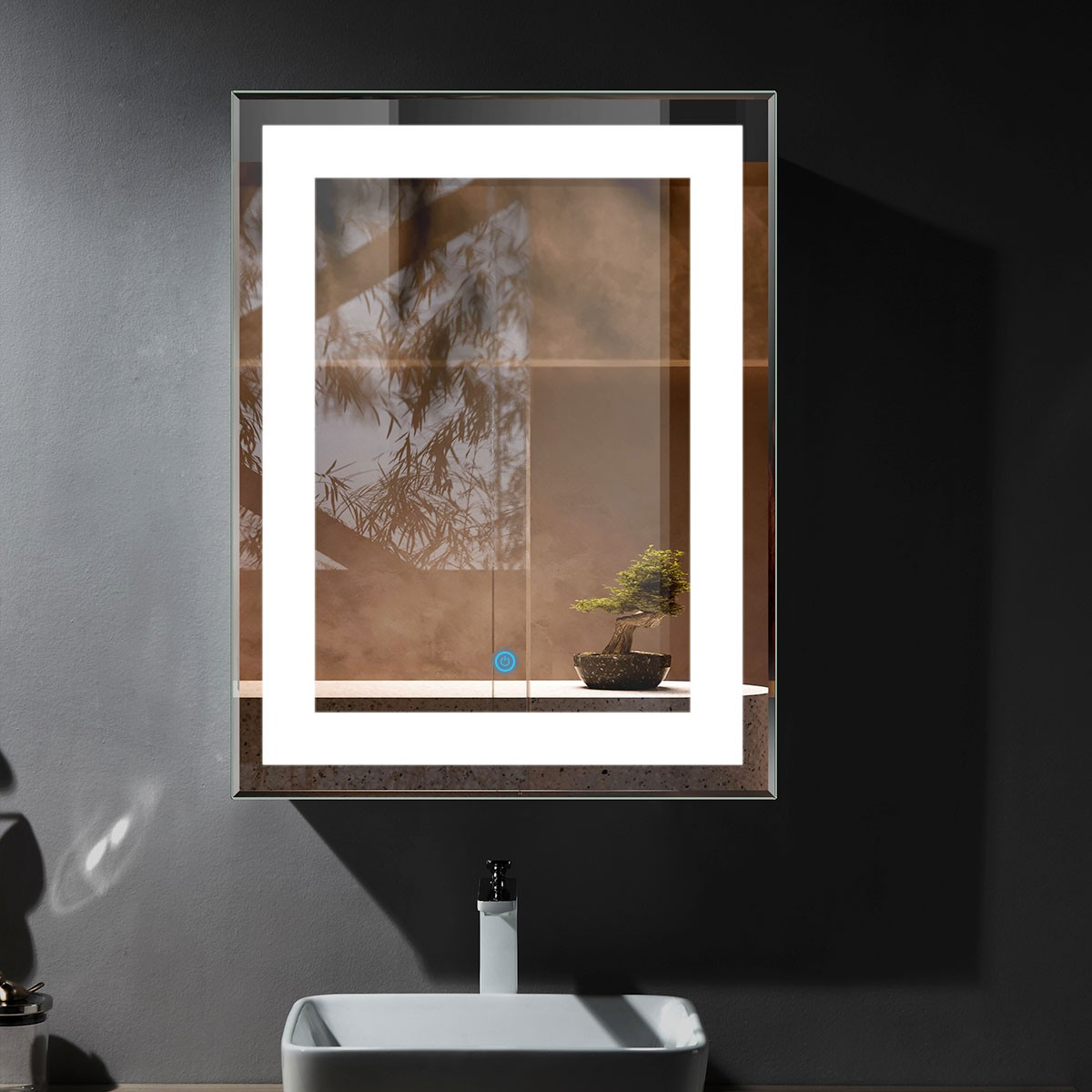 28 x 36 po miroir de salle de bain LED vertical avec bouton tactile (DK-OD-CK168-I)