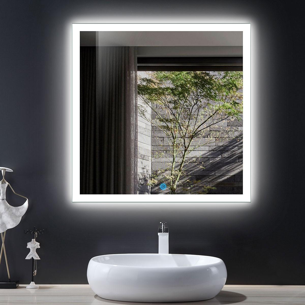 36 x 36 po miroir de salle de bain LED avec bouton tactile (DK-OD-N031-E)