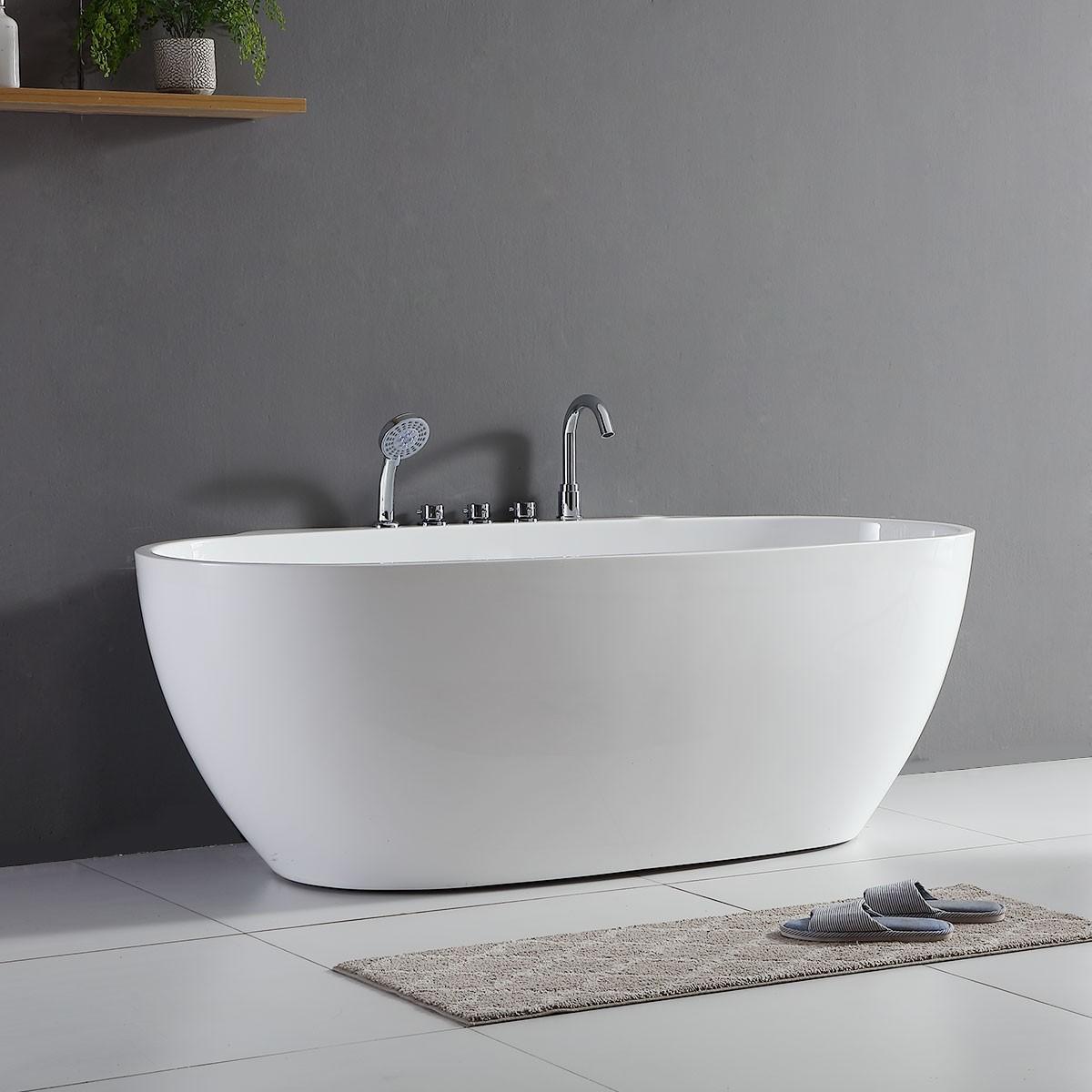 67 po baignoire autoportante contre mur en acrylique avec. Black Bedroom Furniture Sets. Home Design Ideas