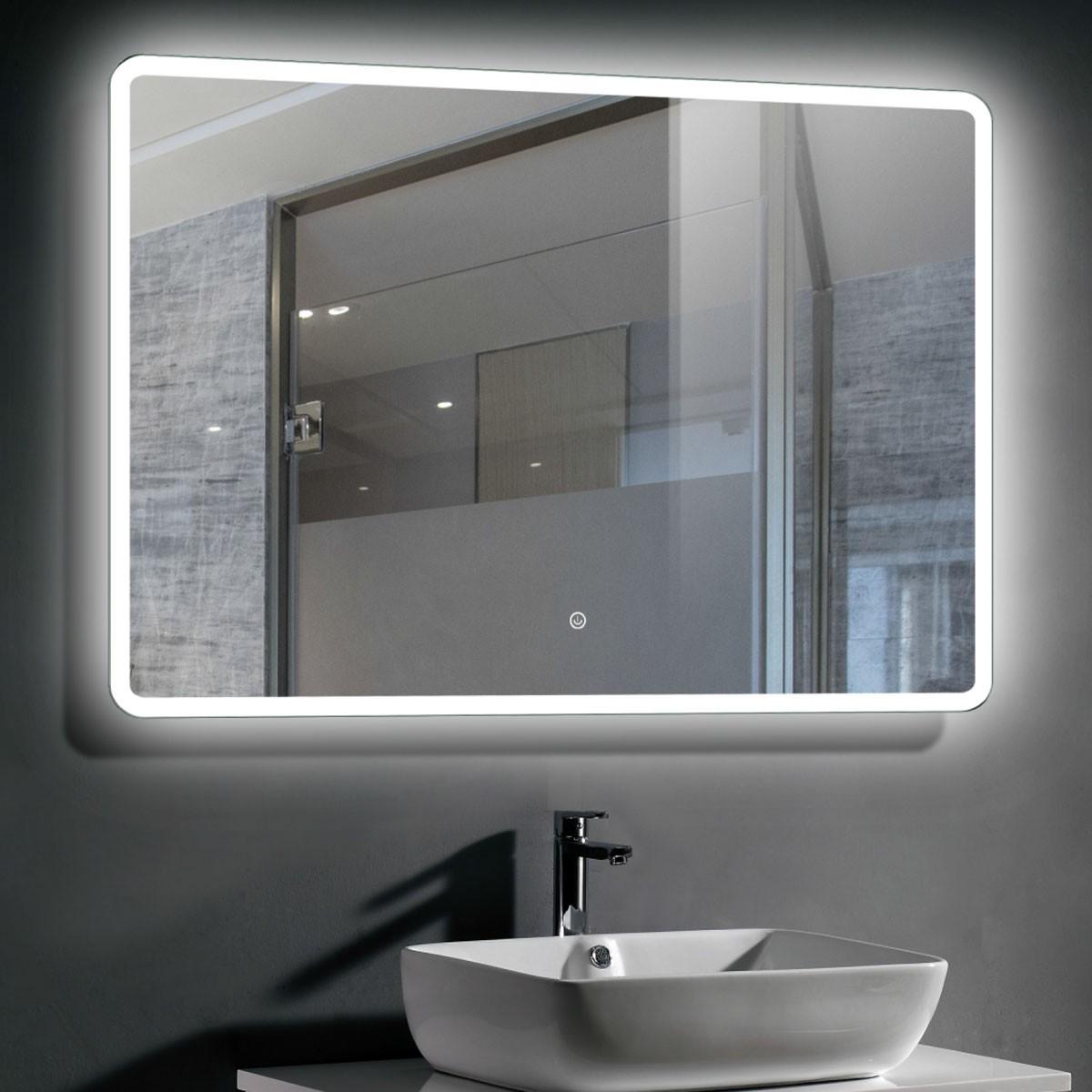 40 x 28 Po Miroir de Salle de Bain LED Horizontal avec Bouton Tactile (DK-CK206)