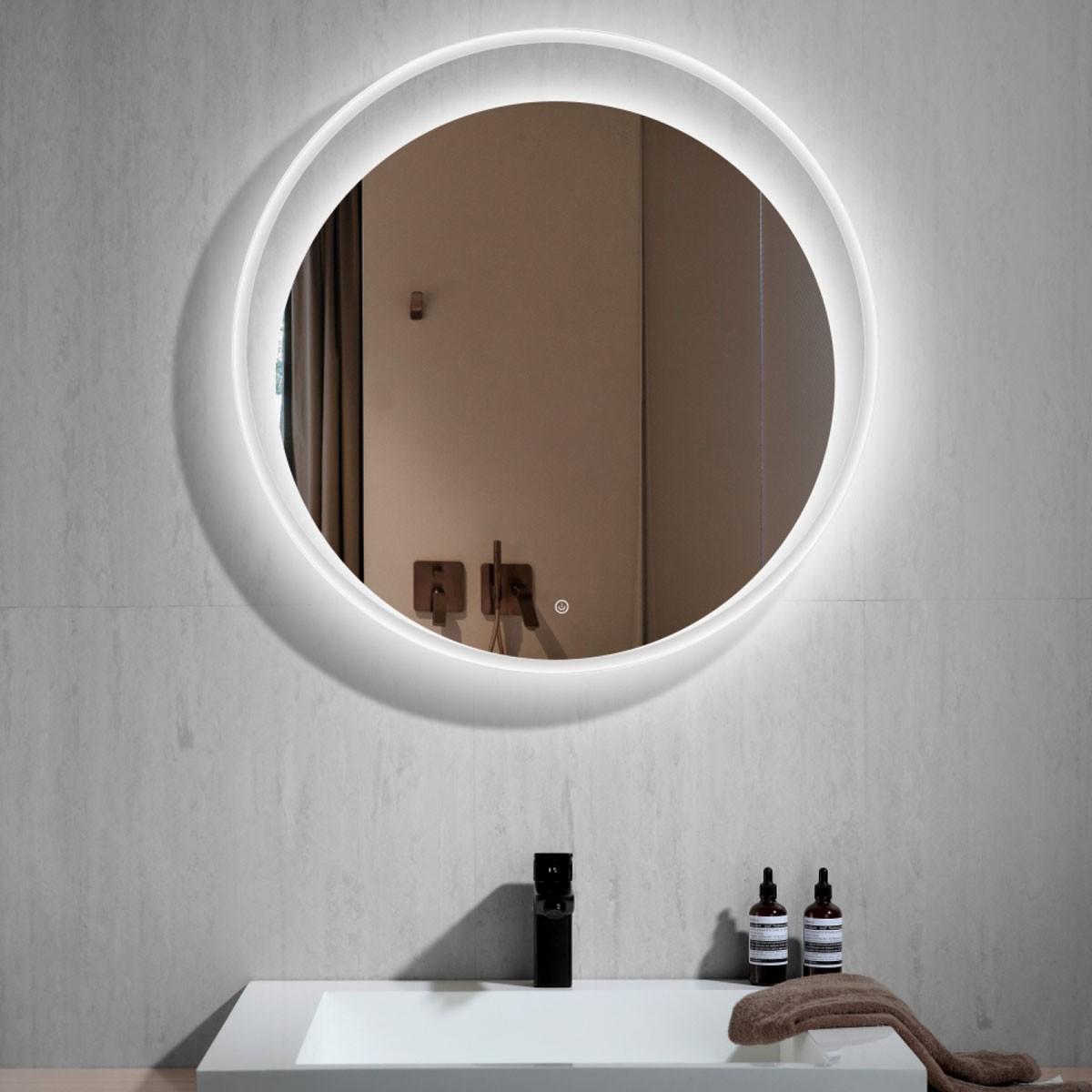 30 Po Miroir de Salle de Bain LED Rond avec Bouton Tactile (DK-CK209)