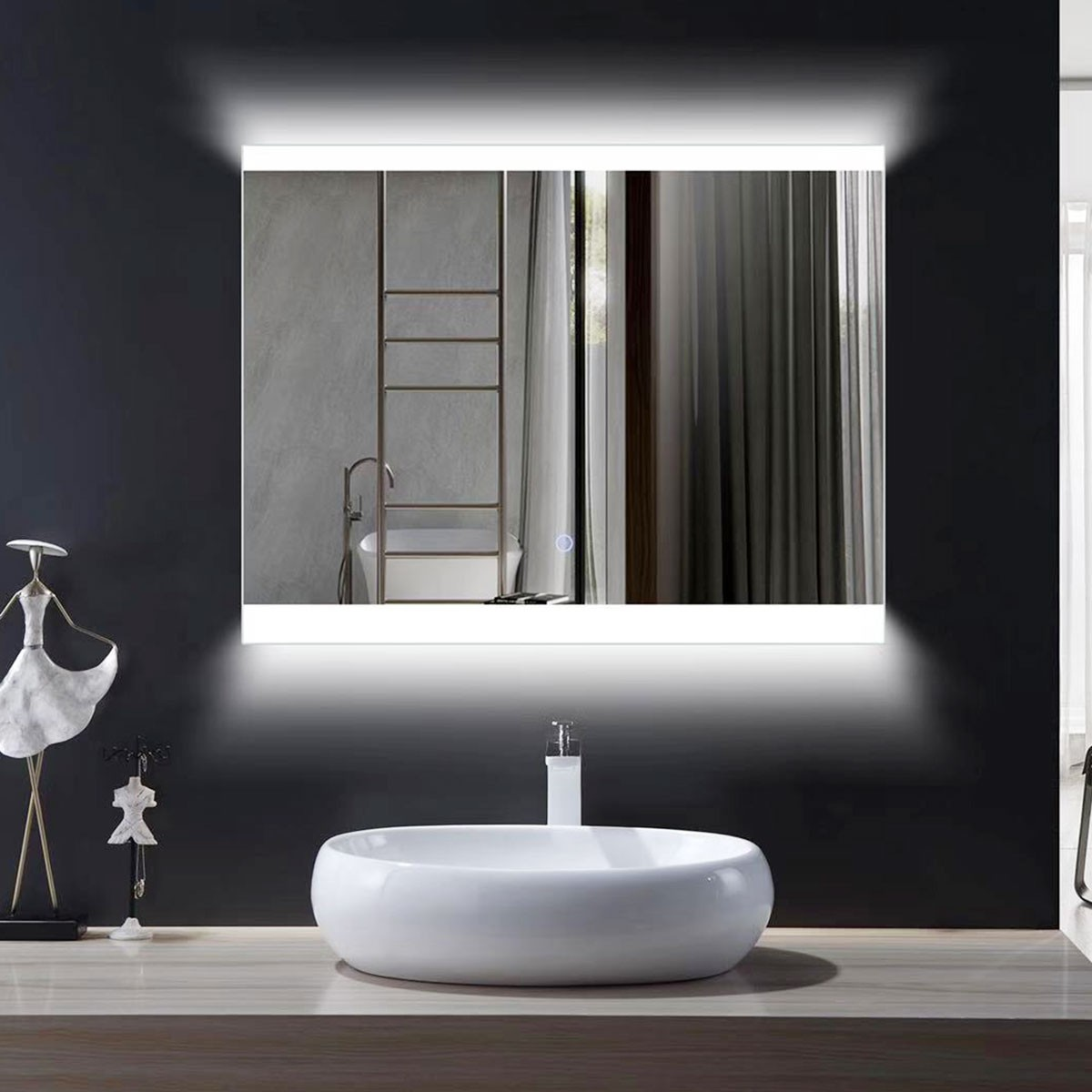 Miroir de salle de bain LED horizontal 36 x 28 po avec bouton tactile (DK-OD-CL056)