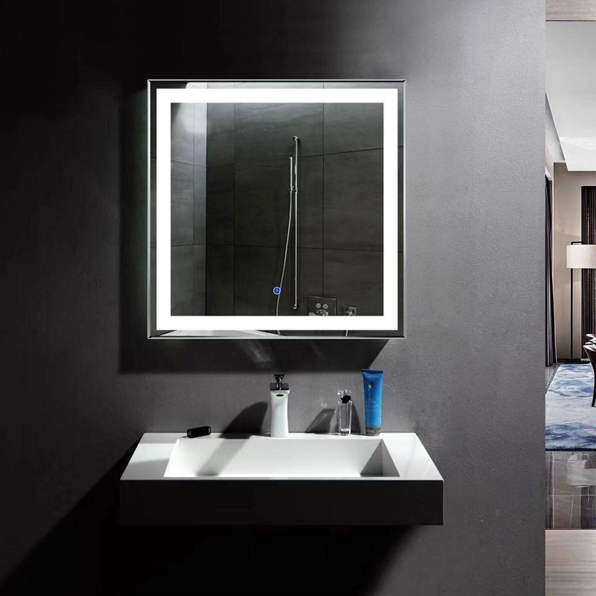 36 x 36 po miroir de salle de bain LED vertical avec bouton tactile (DK-OD-CK168-E)