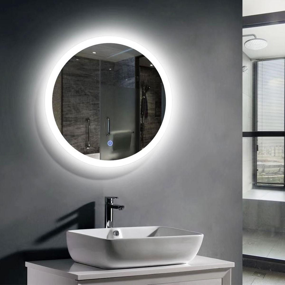 24 x 24 po miroir de salle de bain LED rond avec bouton tactile (DK-OD-CL065-1)