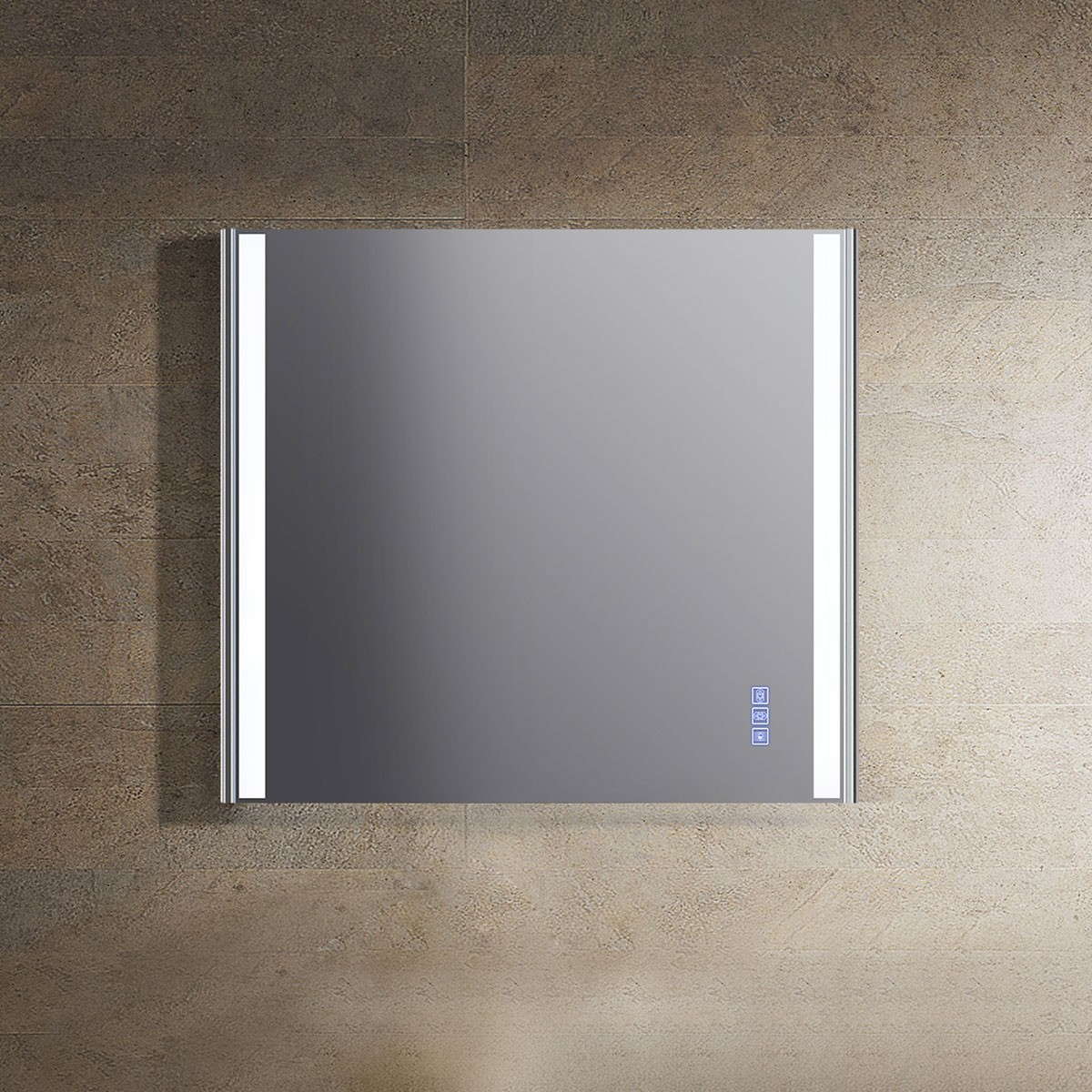 30 x 30 Po Miroir LED avec Bouton Tactile de Meuble Salle de Bain (DW1202-M)