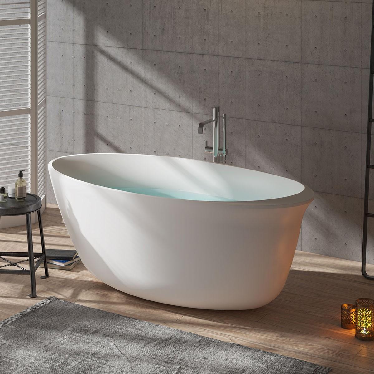 BATHPRO 59 Po Baignoire Autoportante Haut de Gamme - Acrylique Blanc Mat (DK-MF-125573)
