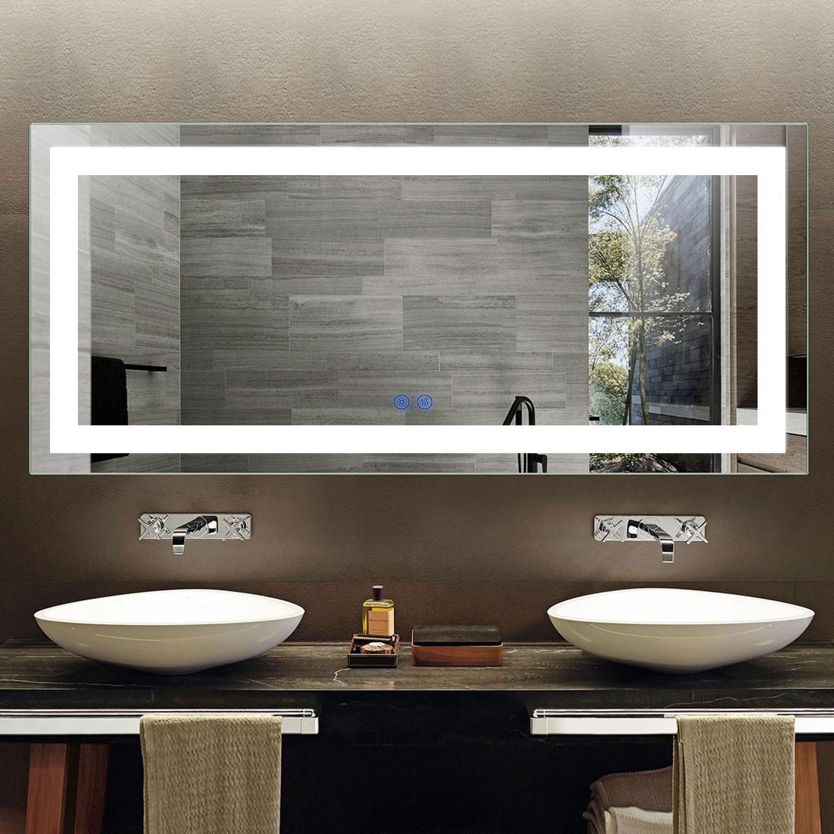 DECORAPORT 70 x 32 Po Miroir de Salle de Bain LED avec Bouton Tactile, Anti-Buée, Luminosité Réglable, Montage Vertical & Horizontal (D202-7032)