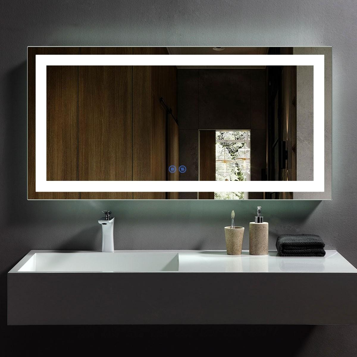 DECORAPORT 48 x 24 Po Miroir de Salle de Bain LED avec Bouton Tactile, Anti-Buée, Luminosité Réglable, Montage Vertical & Horizontal (D209-4824)