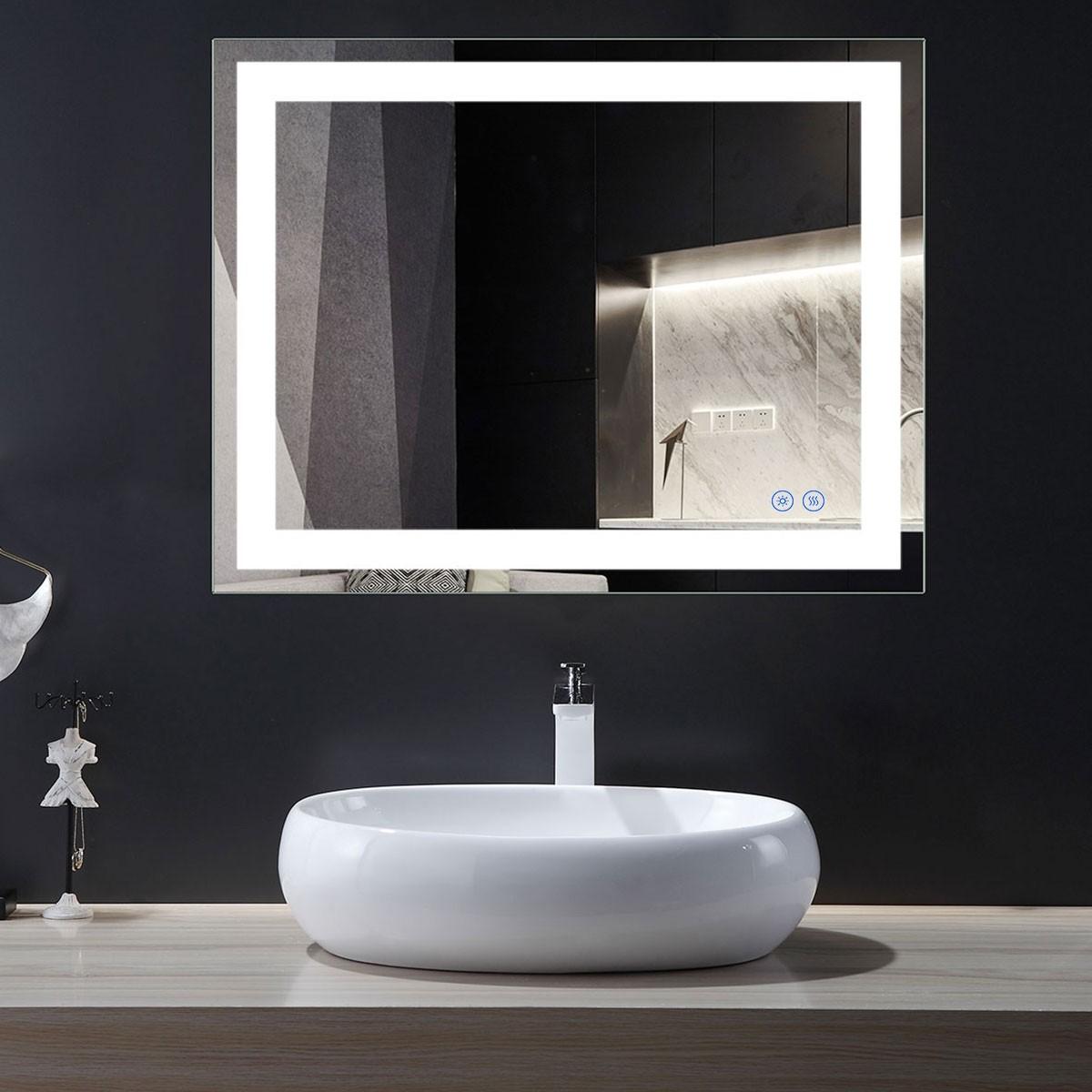 DECORAPORT 36 x 28 Po Miroir de Salle de Bain LED avec Bouton Tactile, Anti-Buée, Luminosité Réglable, Montage Vertical & Horizontal (CT13-3628)