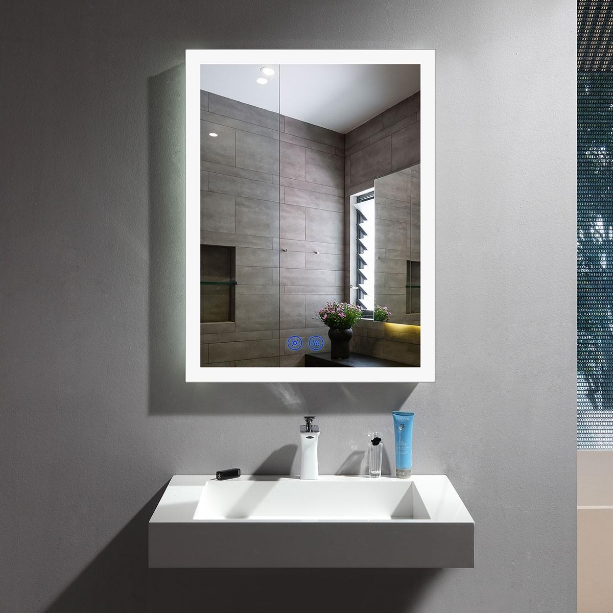 DECORAPORT 20 x 28 Po Miroir de Salle de Bain LED avec Bouton Tactile, Anti-Buée, Luminosité Réglable, Montage Vertical & Horizontal (NT16-2028)