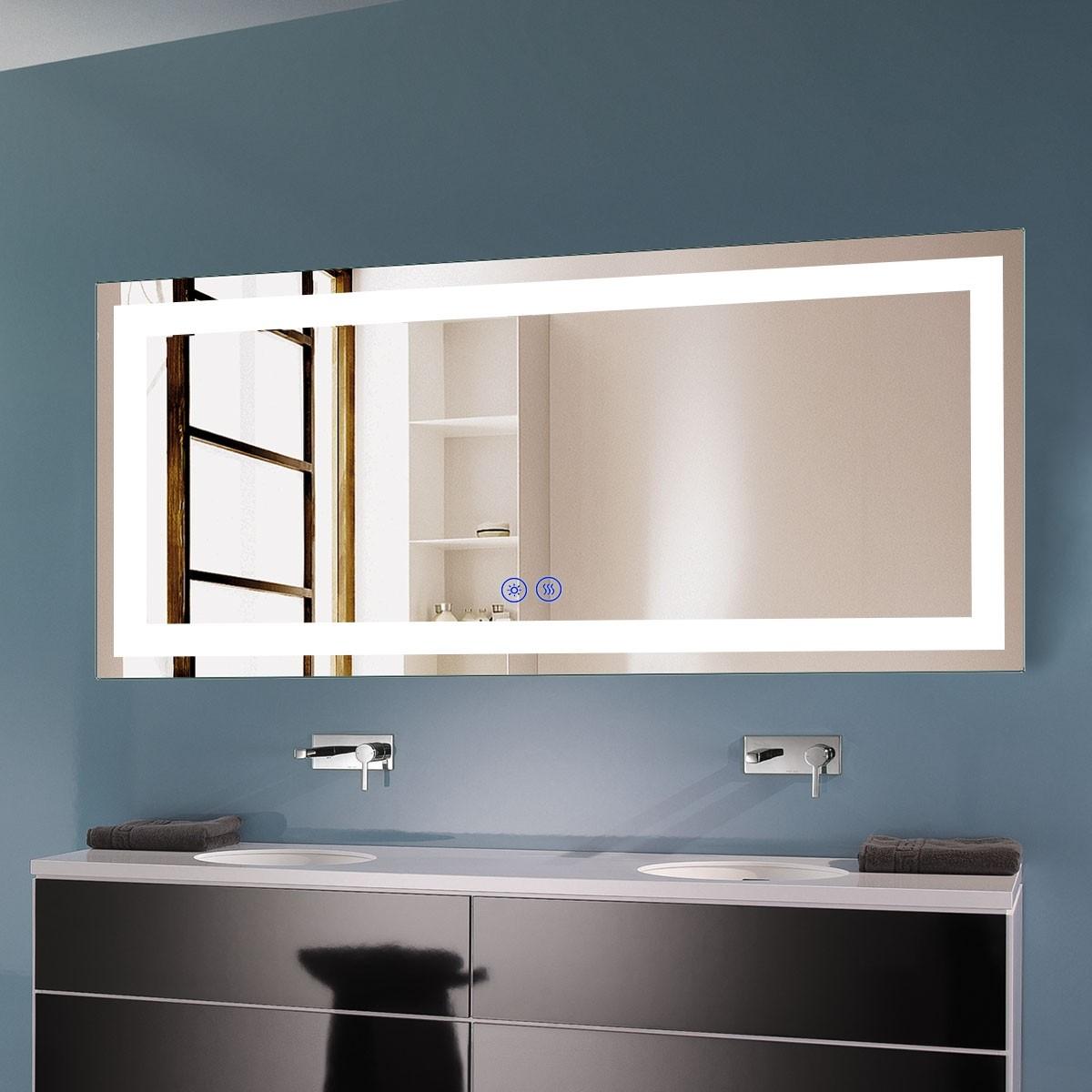 DECORAPORT 70 x 32 Po Miroir de Salle de Bain LED avec Bouton Tactile, Anti-Buée, Luminosité Réglable, Bluetooth, Montage Vertical & Horizontal (D221-7032A)