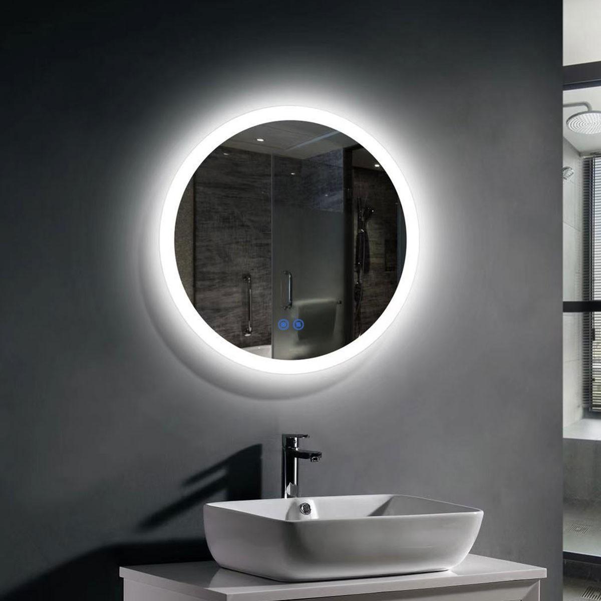 Decoraport 24 x 24 Po Miroir de Salle de Bain LED avec Bouton Tactile, Anti-Buée, Luminosité Réglable, Montage Vertical (CL065-2424-TS)