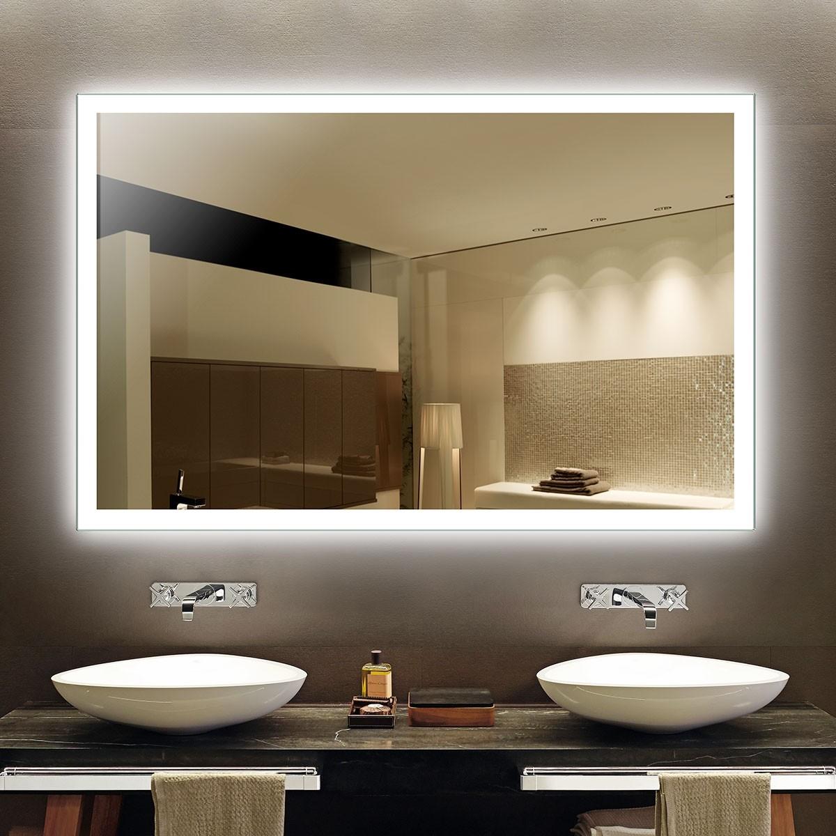 DECORAPORT 55 x 36 Po Miroir de Salle de Bain LED/Miroir Chambre avec Contrôle du Capteur Infrarouge, Anti-Buée, Luminosité Réglable, Montage Vertical & Horizontal (NG05-5536)