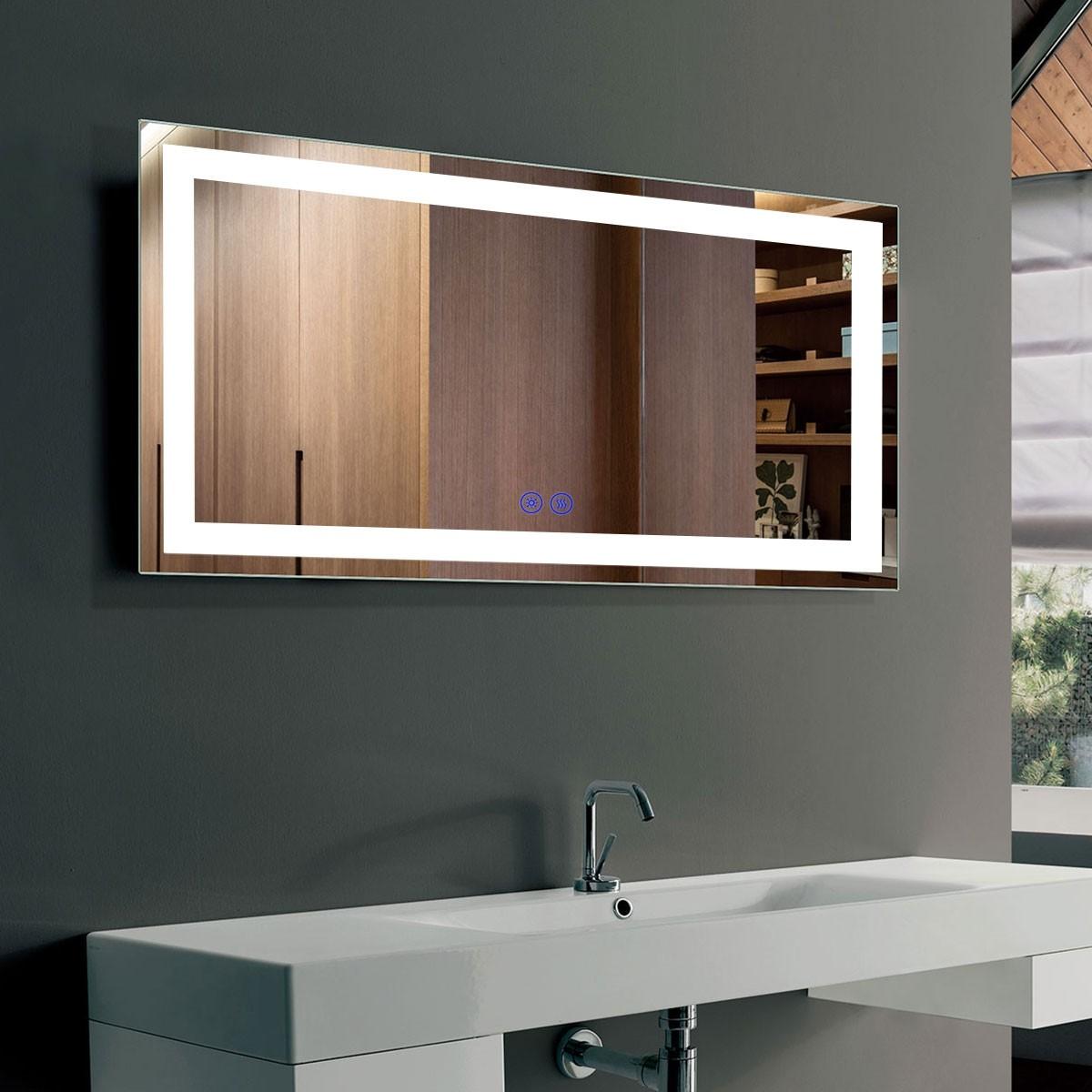 DECORAPORT 40 x 24 Po Miroir de Salle de Bain LED avec Bouton Tactile, Anti-Buée, Luminosité Réglable, Montage Vertical & Horizontal (D211-4024)