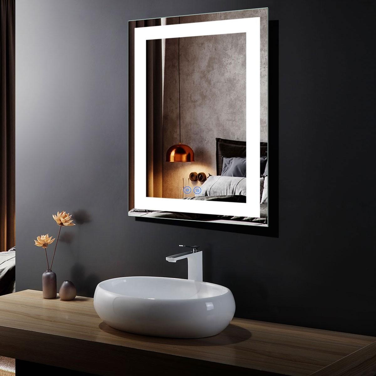 DECORAPORT 24 x 32 Po Miroir de Salle de Bain LED avec Bouton Tactile, Anti-Buée, Luminosité Réglable, Montage Vertical & Horizontal (D214-2432)