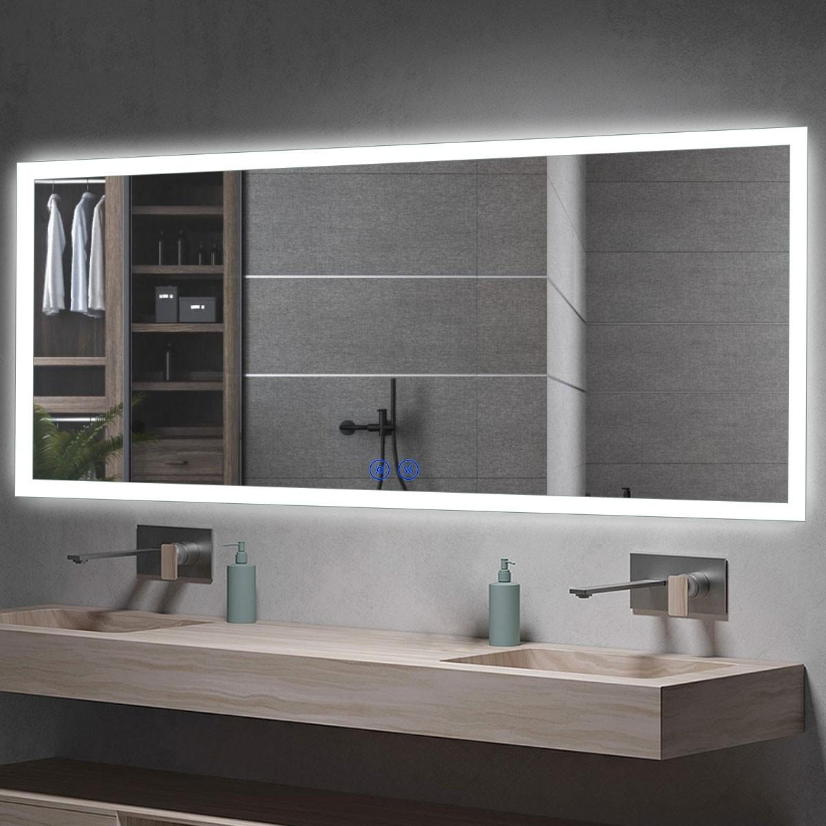 DECORAPORT 60 x 28  Po Miroir de Salle de Bain LED/Miroir Chambre avec Bouton Tactile, Anti-Buée, Luminosité Réglable, Montage Vertical & Horizontal (NT04-6028)