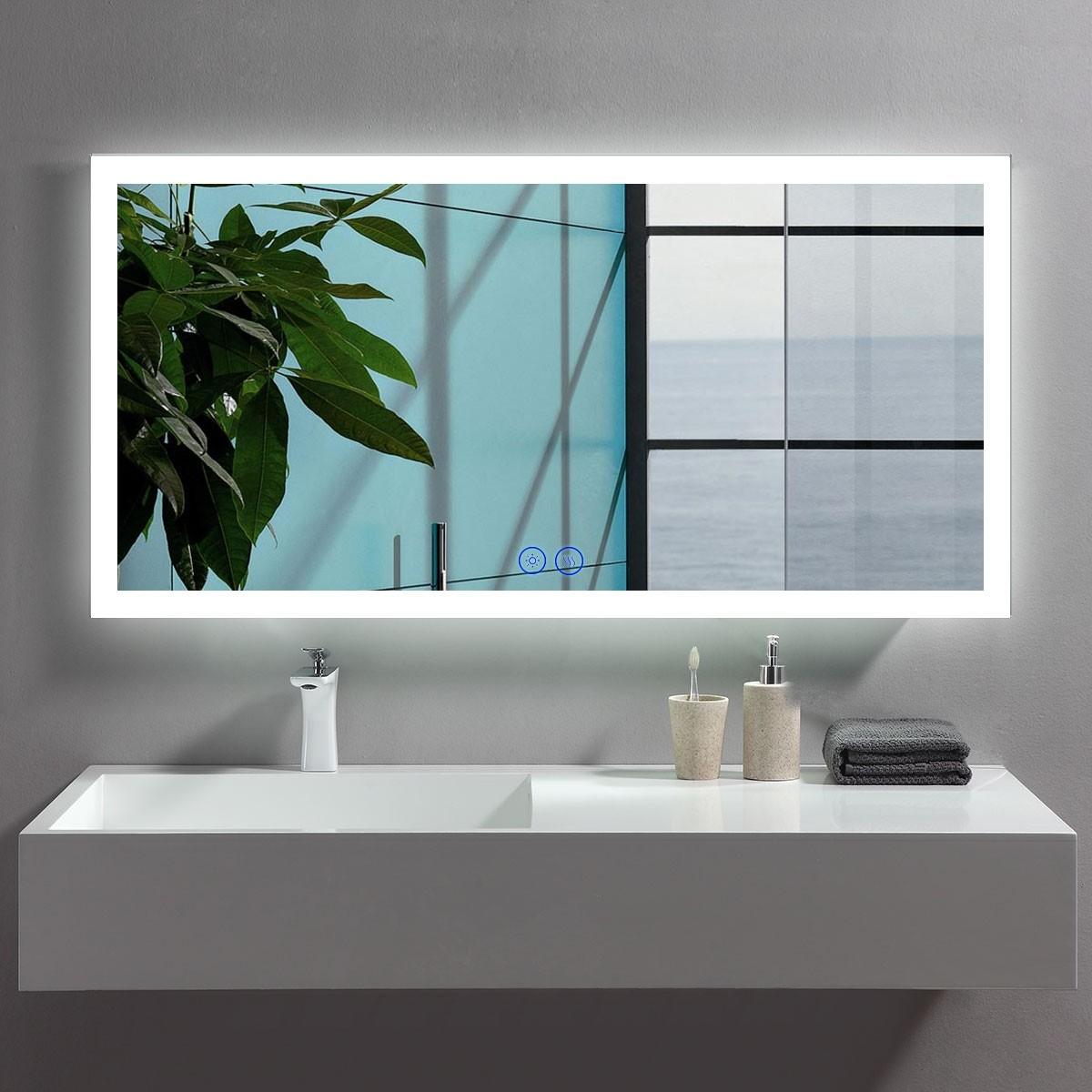 DECORAPORT 48 x 24  Po Miroir de Salle de Bain LED/Miroir Chambre avec Bouton Tactile, Anti-Buée, Luminosité Réglable, Montage Vertical & Horizontal (NT09-4824)