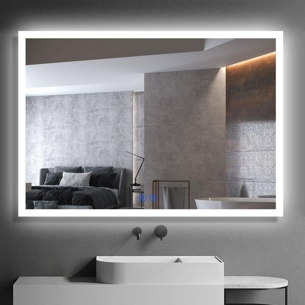 DECORAPORT 40 x 28  Po Miroir de Salle de Bain LED/Miroir Chambre avec Bouton Tactile, Anti-Buée, Luminosité Réglable, Montage Vertical & Horizontal (NT10-4028)