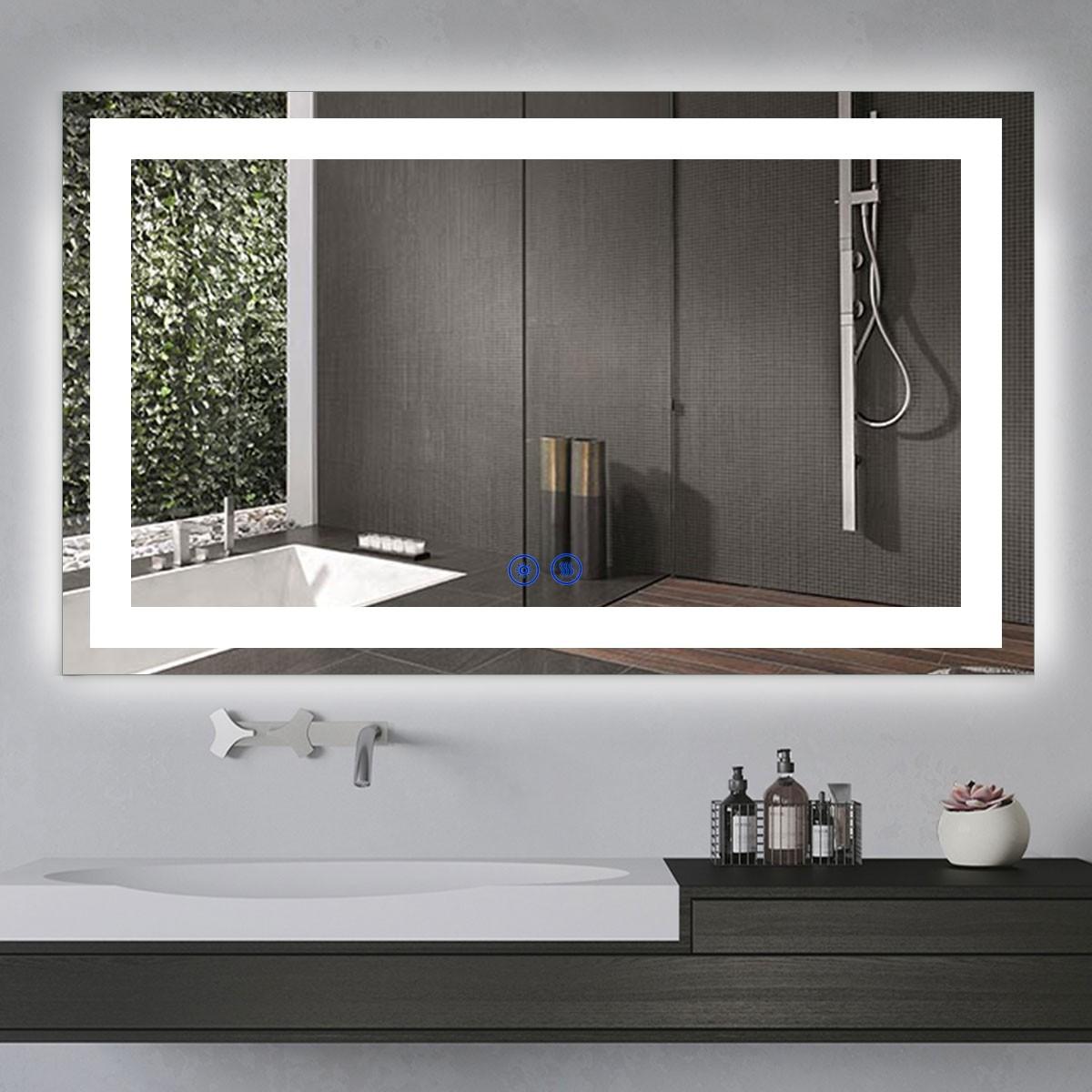 DECORAPORT 60 x 36  Po Miroir de Salle de Bain LED/Miroir Chambre avec Bouton Tactile, Anti-Buée, Luminosité Réglable, Montage Vertical & Horizontal (CT03-6036)