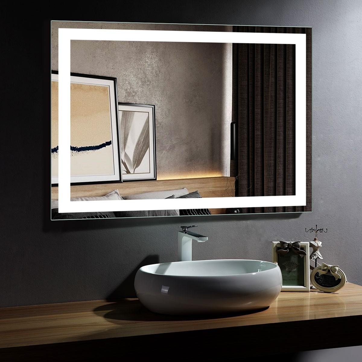 DECORAPORT 48 x 36 Po Miroir de Salle de Bain LED/Miroir Chambre avec Contrôle du Capteur Infrarouge, Anti-Buée, Montage Vertical & Horizontal (CG07-4836)