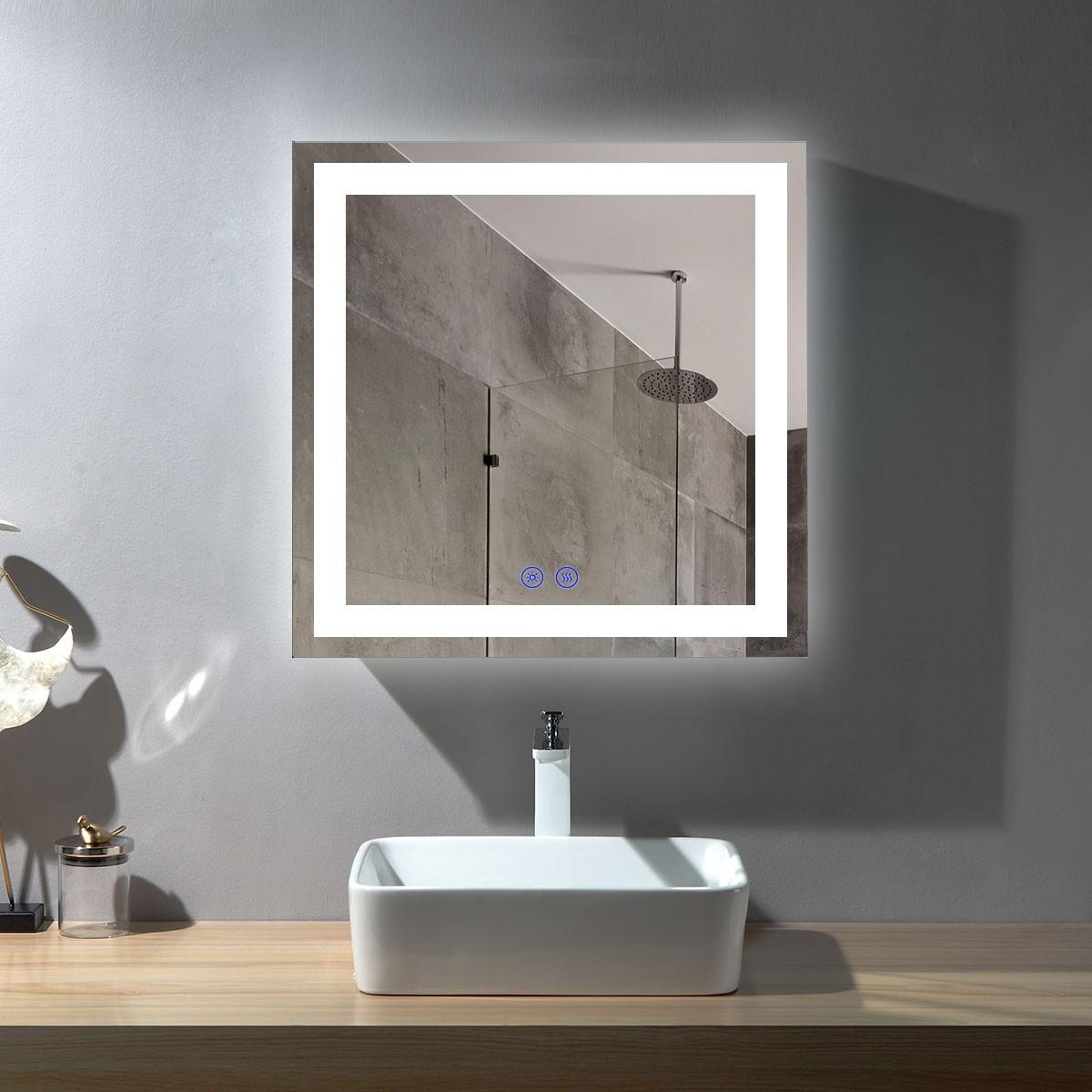 DECORAPORT 36 x 36  Po Miroir de Salle de Bain LED/Miroir Chambre avec Bouton Tactile, Anti-Buée, Luminosité Réglable, Montage Vertical (D212-3636)