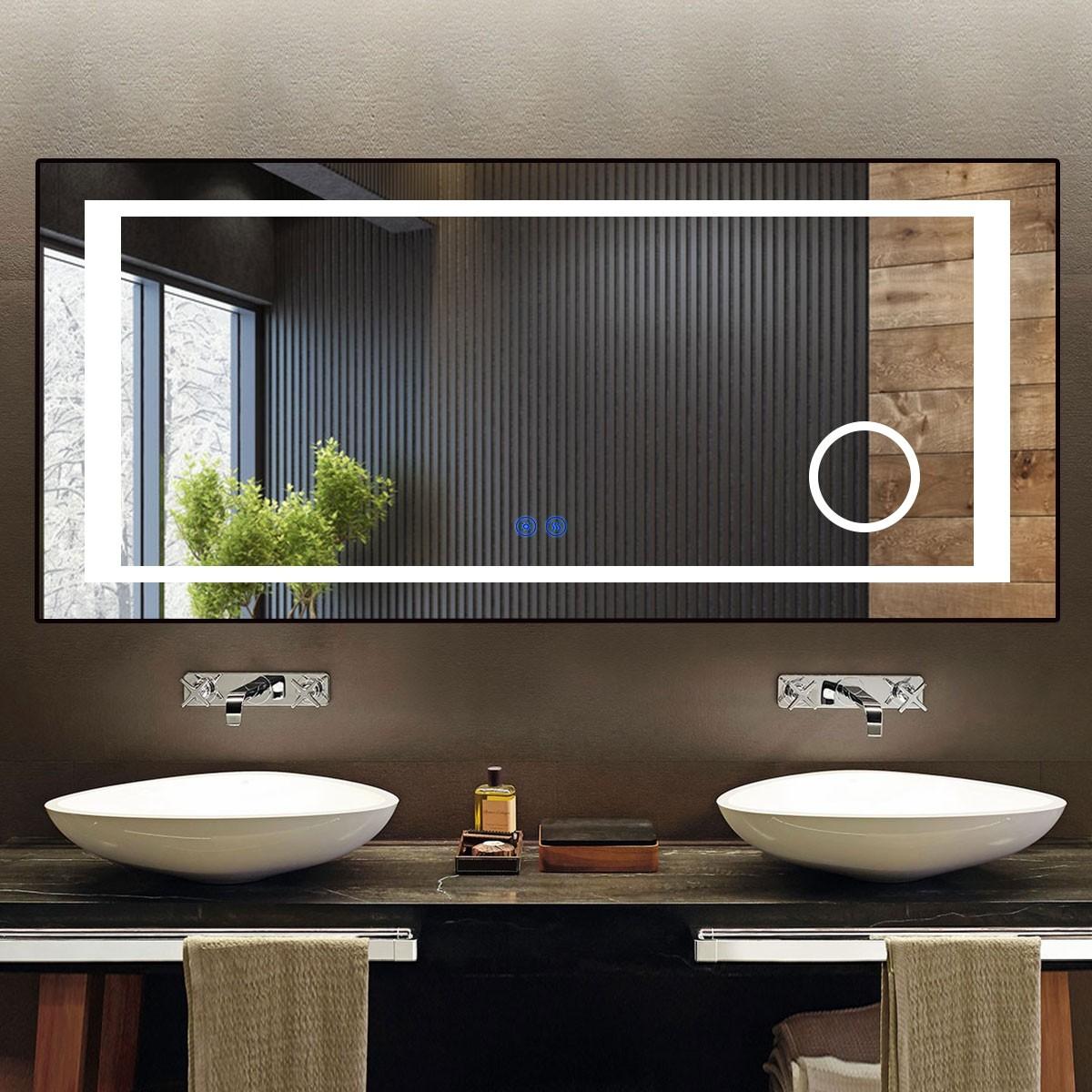 DECORAPORT 70 x 32 Po Miroir de Salle de Bain LED/Miroir Chambre avec Bouton Tactile, Loupe, Anti-Buée, Luminosité Réglable, Montage Vertical & Horizontal (KT02-7032)