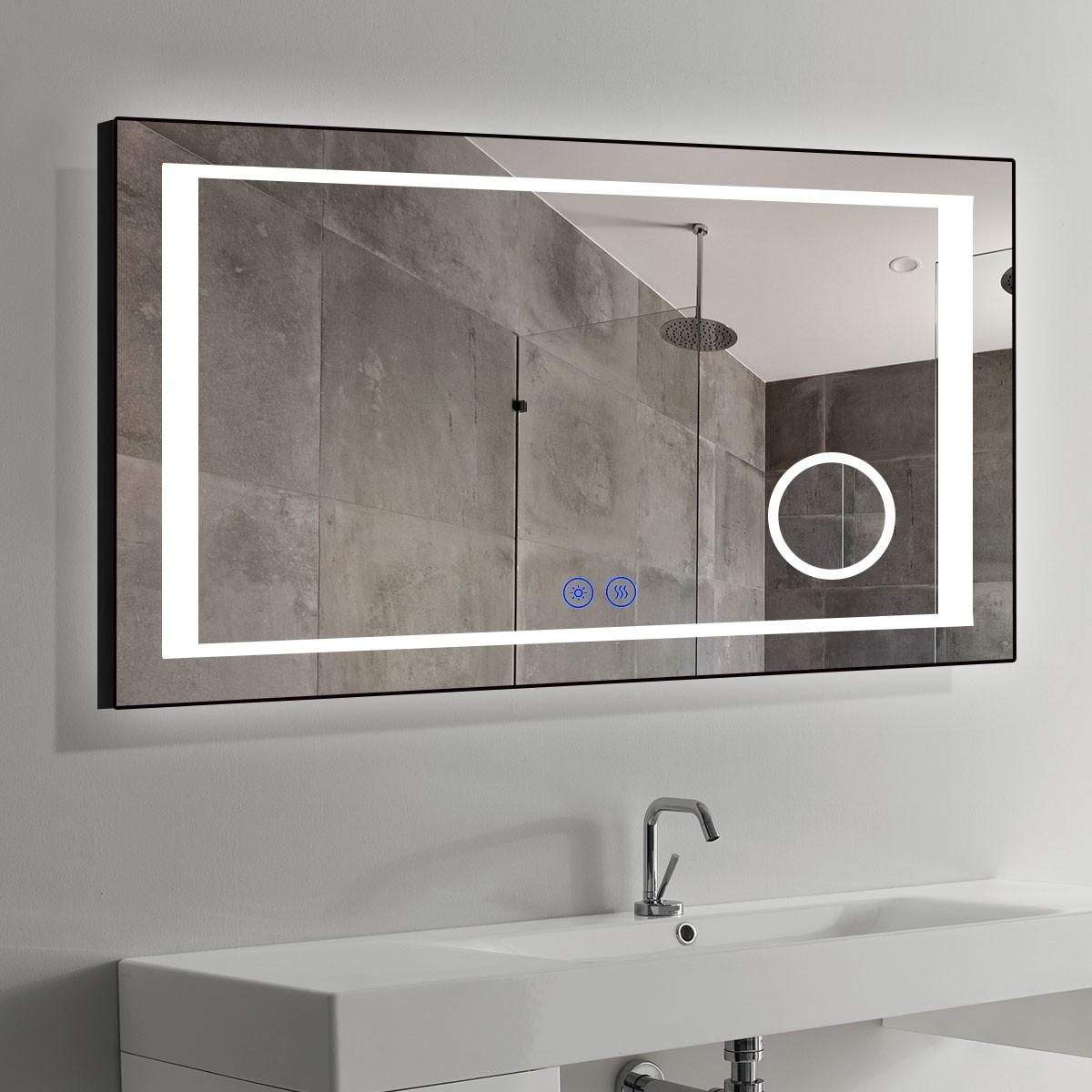 DECORAPORT 60 x 36 Po Miroir de Salle de Bain LED/Miroir Chambre avec Bouton Tactile, Loupe, Anti-Buée, Luminosité Réglable, Montage Vertical & Horizontal (KT03-6036)